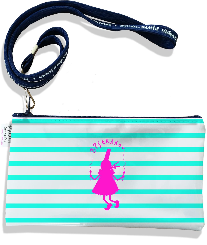 Pochette smartphone 5 & 6 pouces femme motif Marinière bleu ciel Bigoudène Bistrakoo fushia 2371