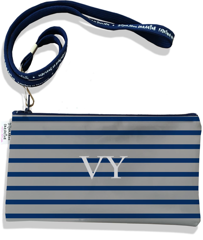 Pochette smartphone 5 & 6 pouces personnalisable homme motif Marinière bleu marine et grise P2172