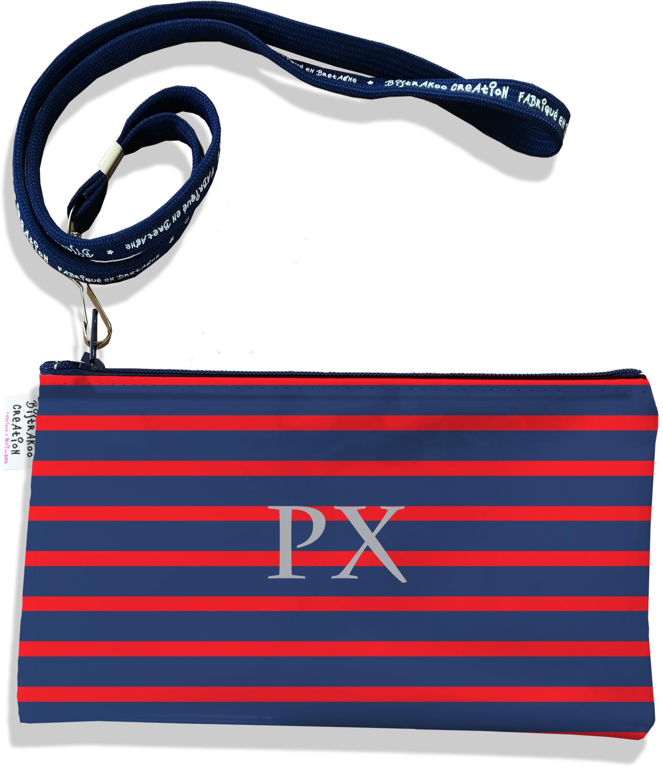 Pochette smartphone 5 & 6 pouces personnalisable homme motif Marinière bleu marine et rouge P2170