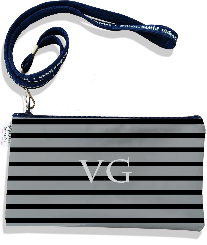 Pochette smartphone 5 & 6 pouces personnalisable homme motif Marinière noire et grise P2173