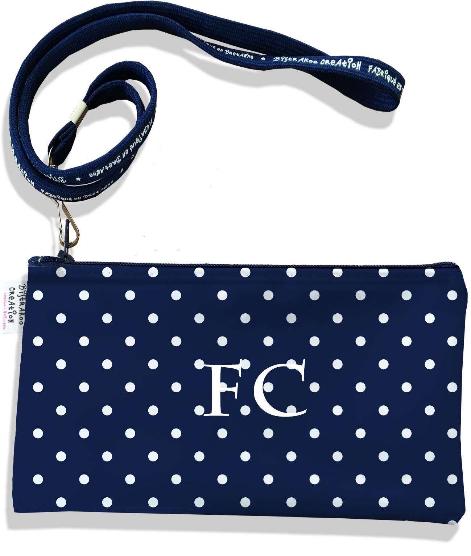 Pochette smartphone 5 & 6 pouces personnalisable homme motif Pois blancs fond bleu marine P2099