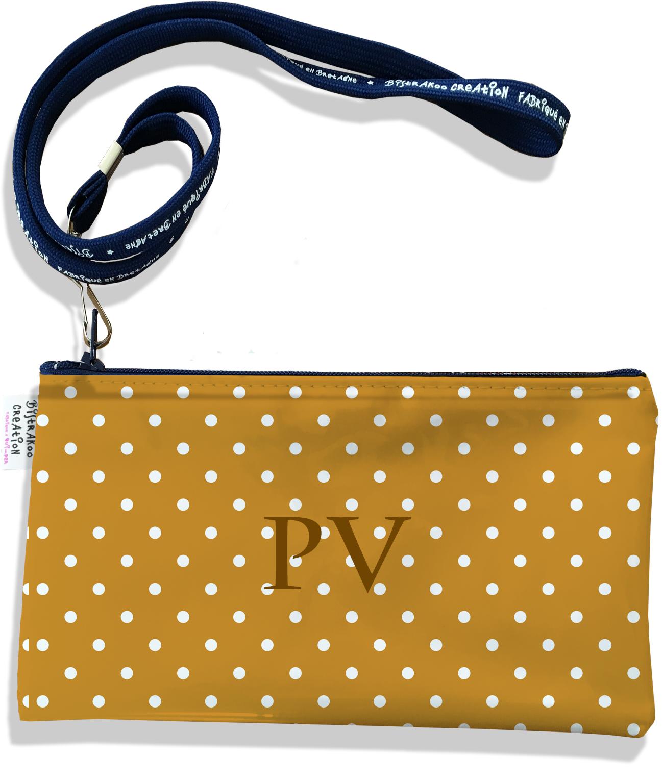 Pochette smartphone 5 & 6 pouces personnalisable homme motif Pois blancs fond marron P2096