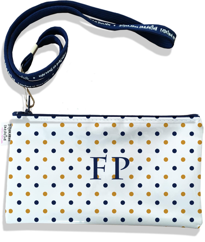 Pochette smartphone 5 & 6 pouces personnalisable homme motif Pois bleu marine et or fond blanc P2105