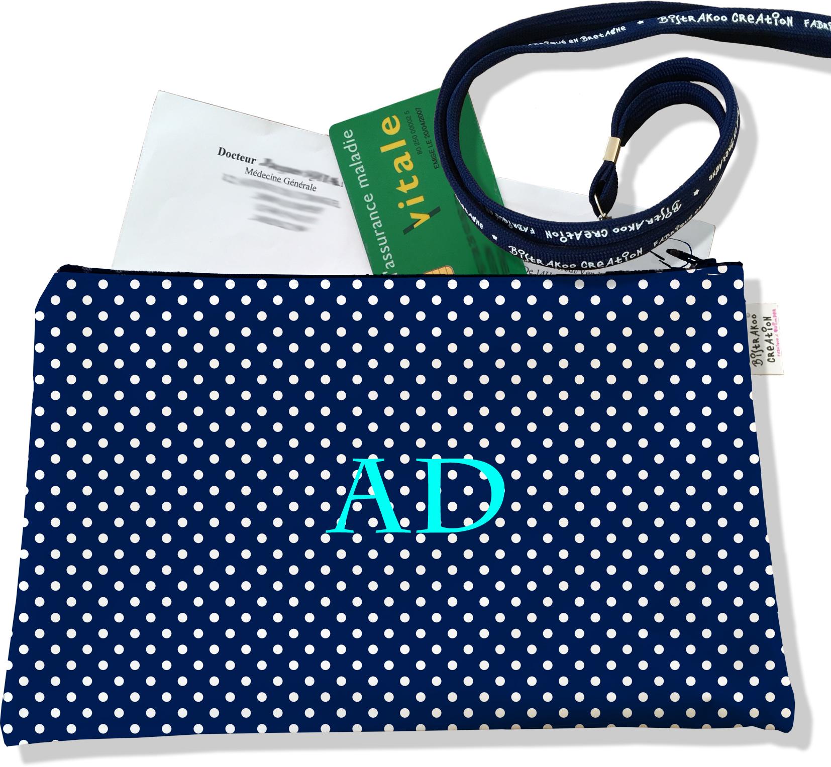 Porte ordonnances personnalisé zippé pour femme motif Classique