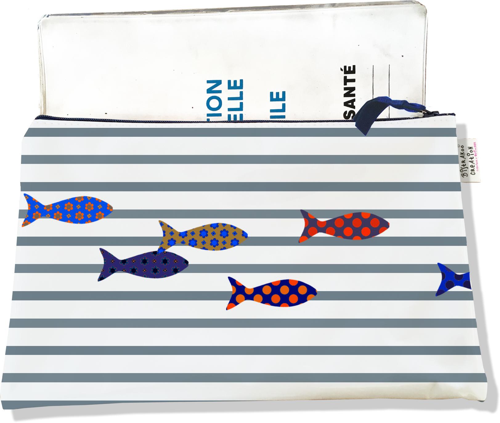 Protège carnet de santé zippé pour femme motif Poissons multicolores fond marinière grise 2588