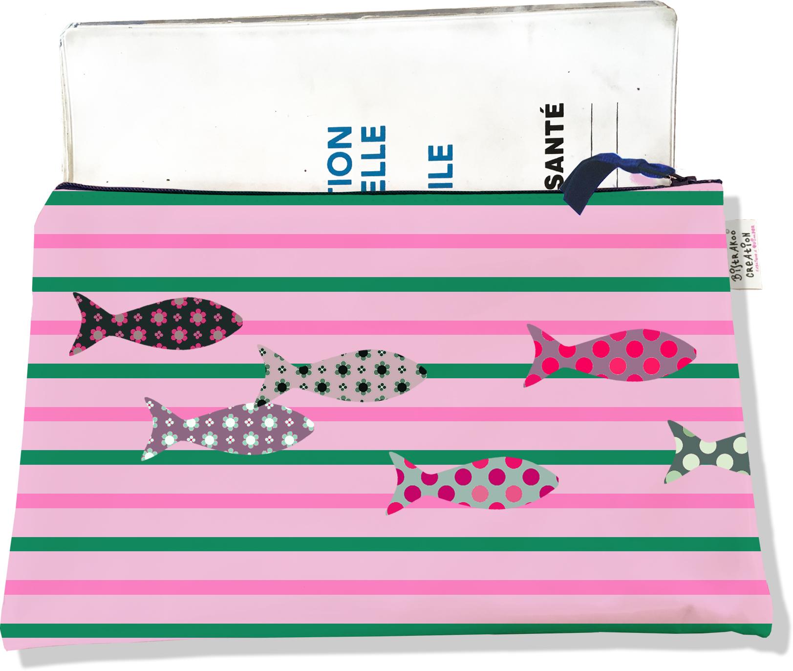 Protège carnet de santé zippé pour femme motif Poissons multicolores fond marinière rose et verte 2275