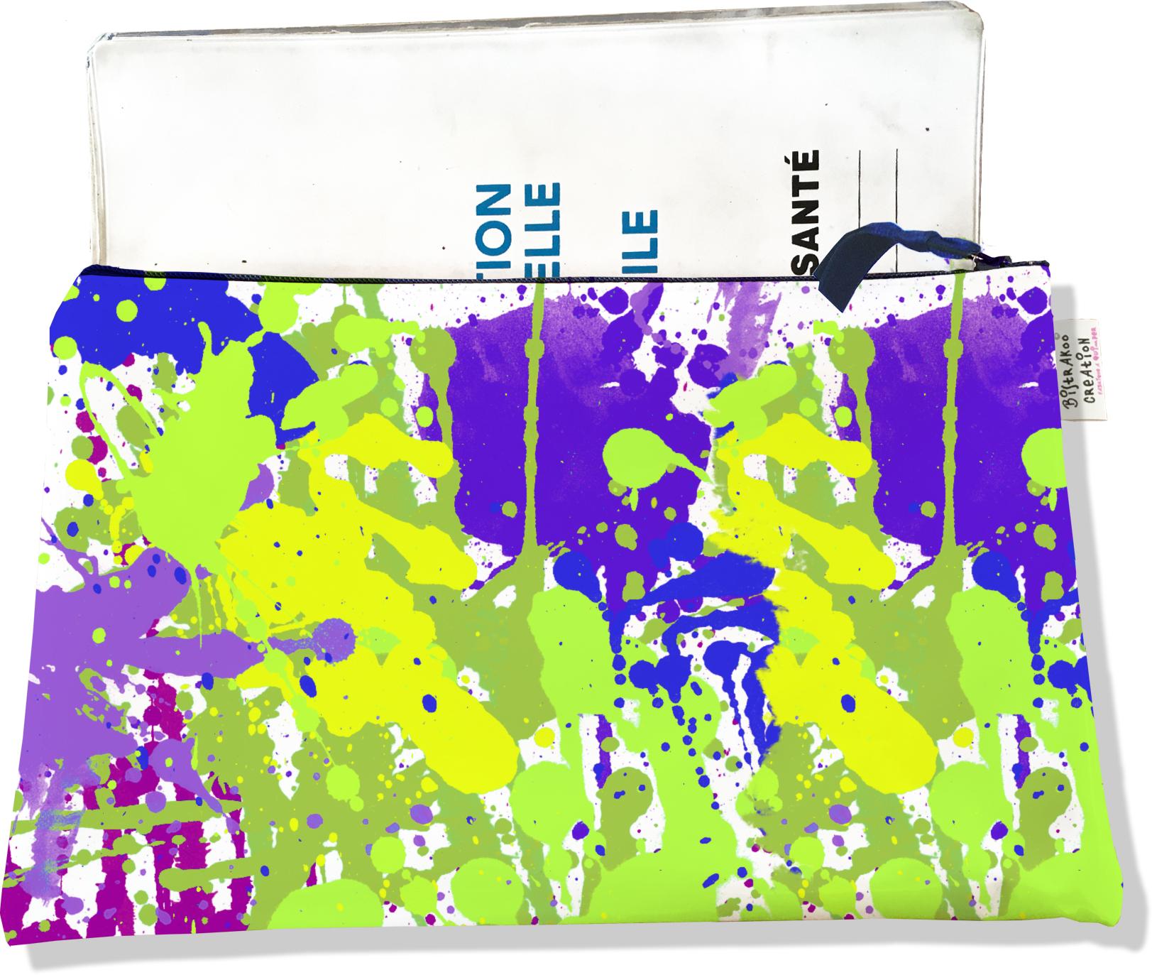 Protège carnet de santé zippé pour femme motif Taches de peinture multicolores 2565