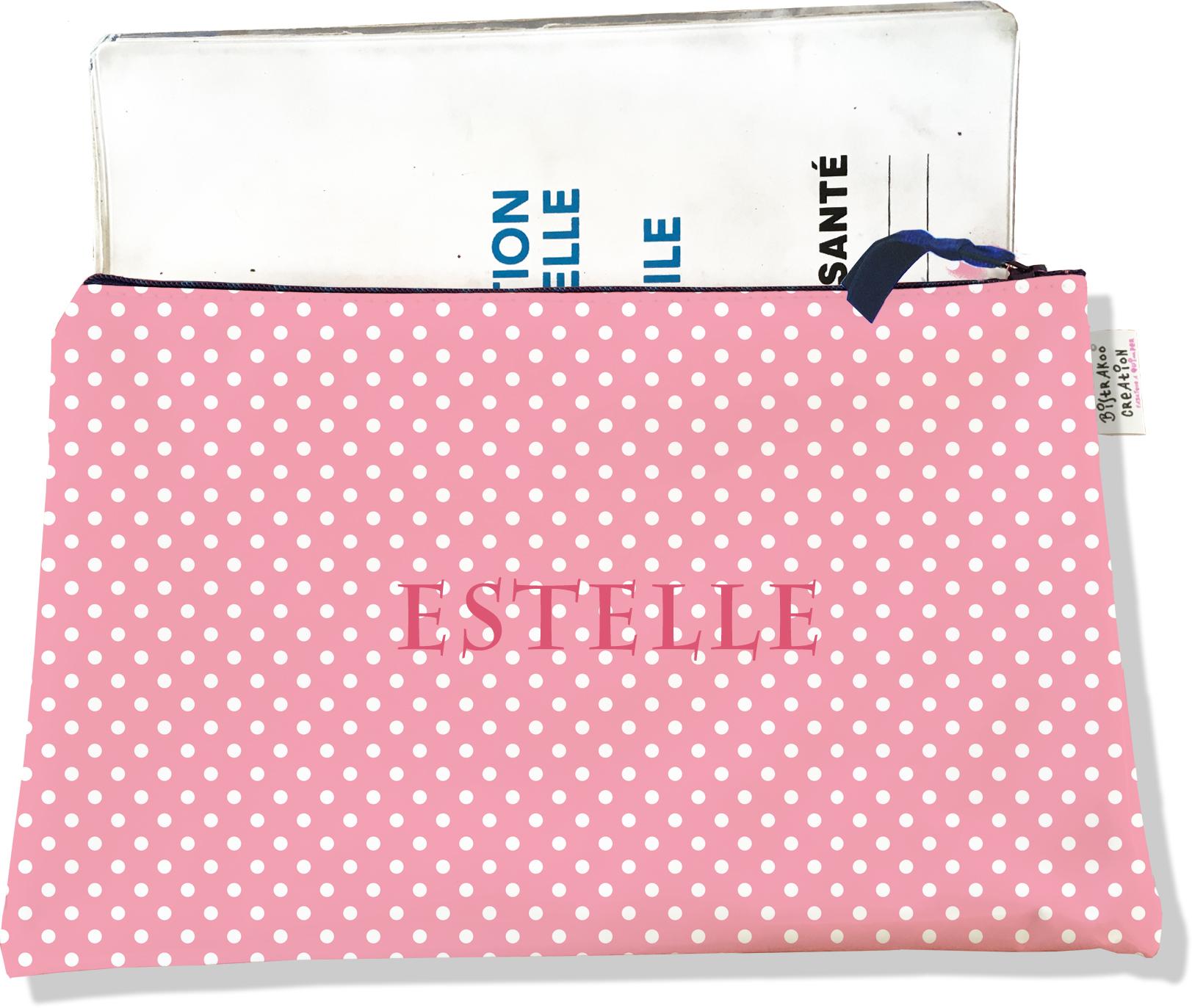 Protège carnet de santé personnalisable zippé pour femme motif pois blanc et rose 2060-2015