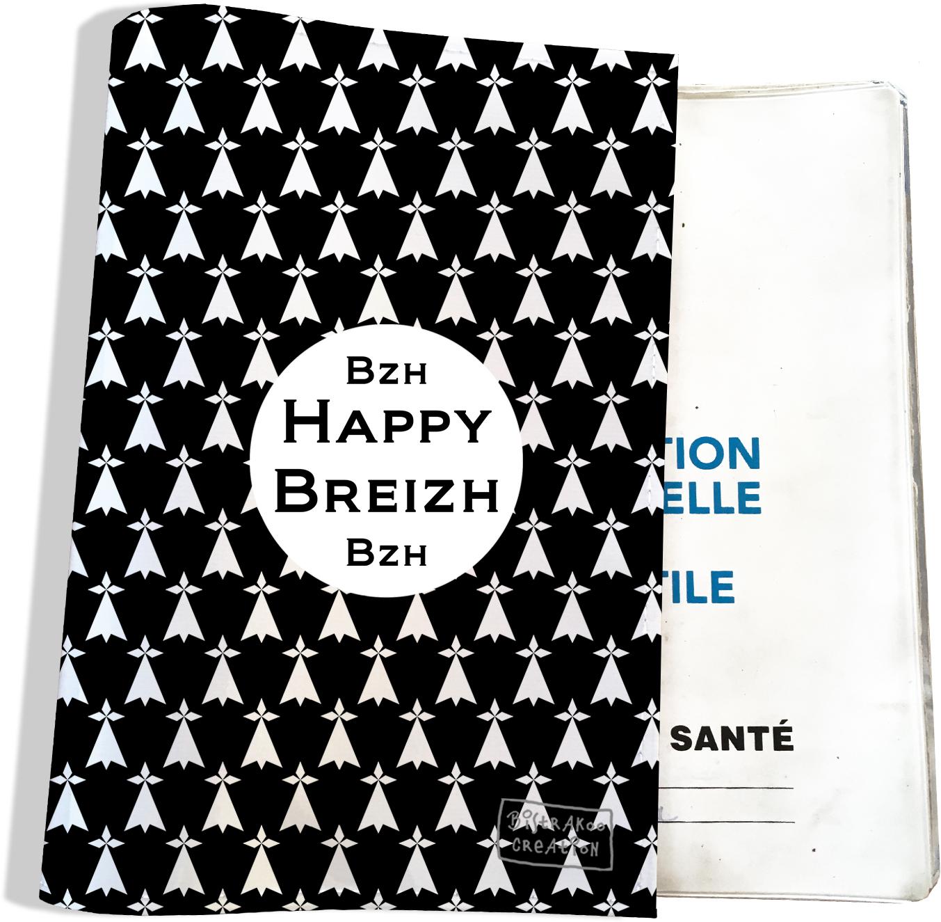 Protège carnet de santé breton Bretagne Breizh Gwen Ha Du Bistrakoo Hermines blanches fond noir PCS8003