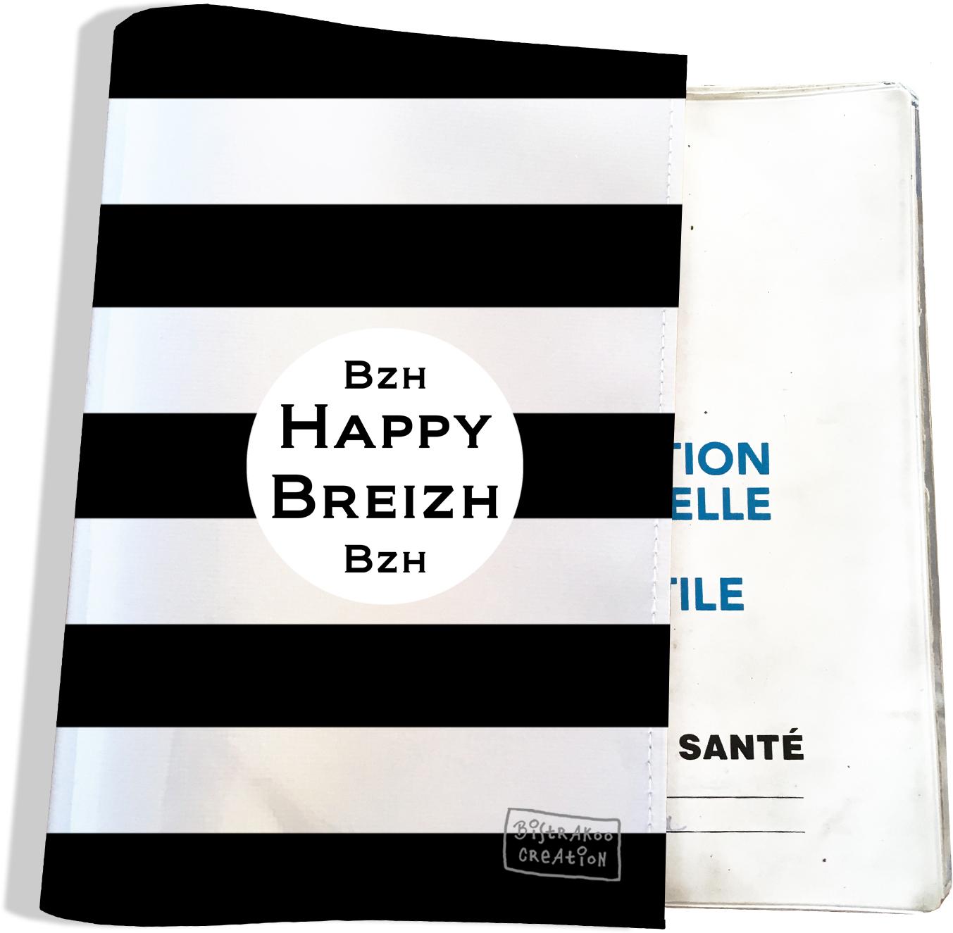 Protège carnet de santé breton Bretagne Breizh Gwen Ha Du Bistrakoo Marinière noire fond blanc PCS8000