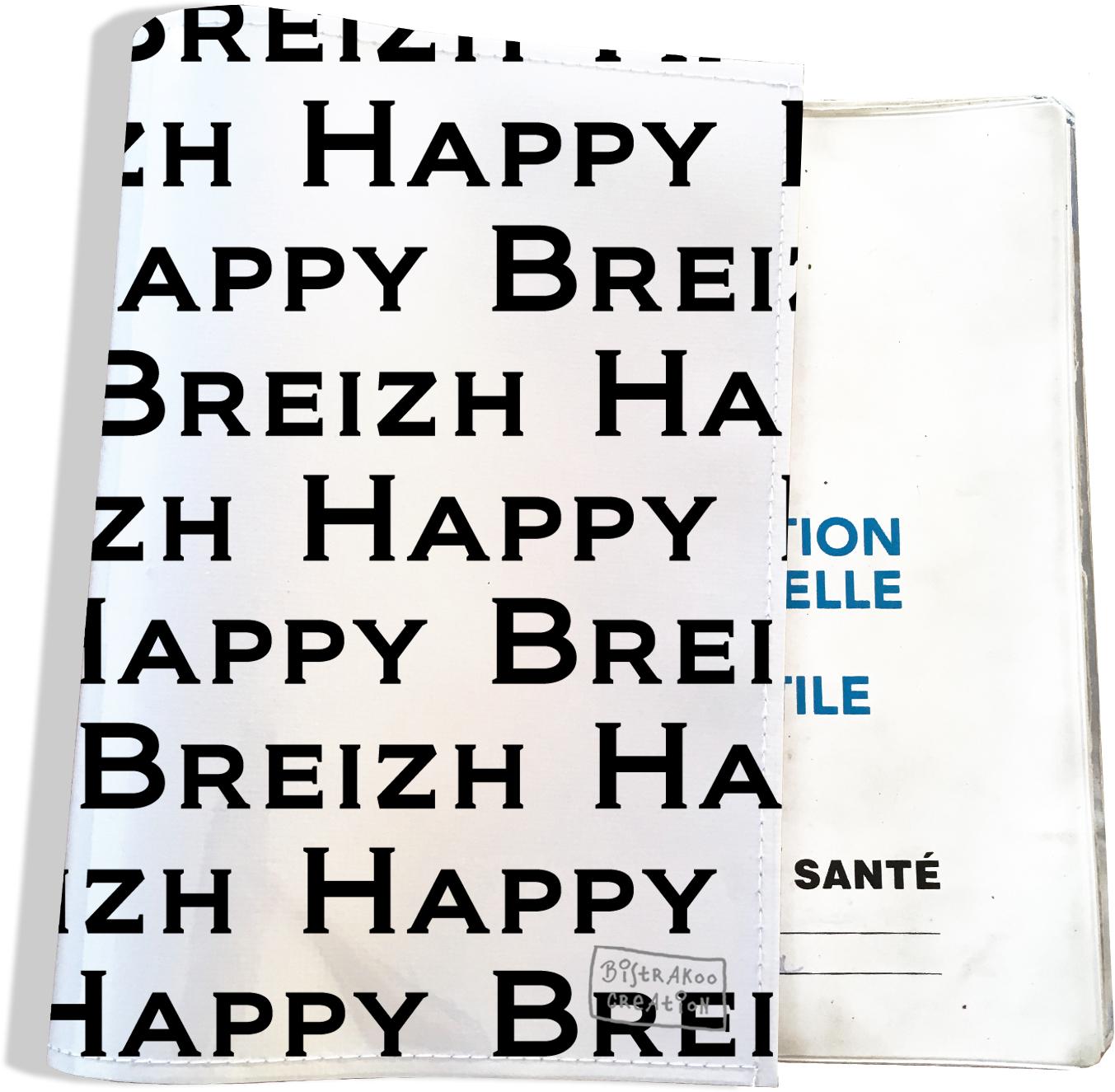 Protège carnet de santé breton Bretagne Happy Breizh Gwen Ha Du Bistrakoo PCS8004
