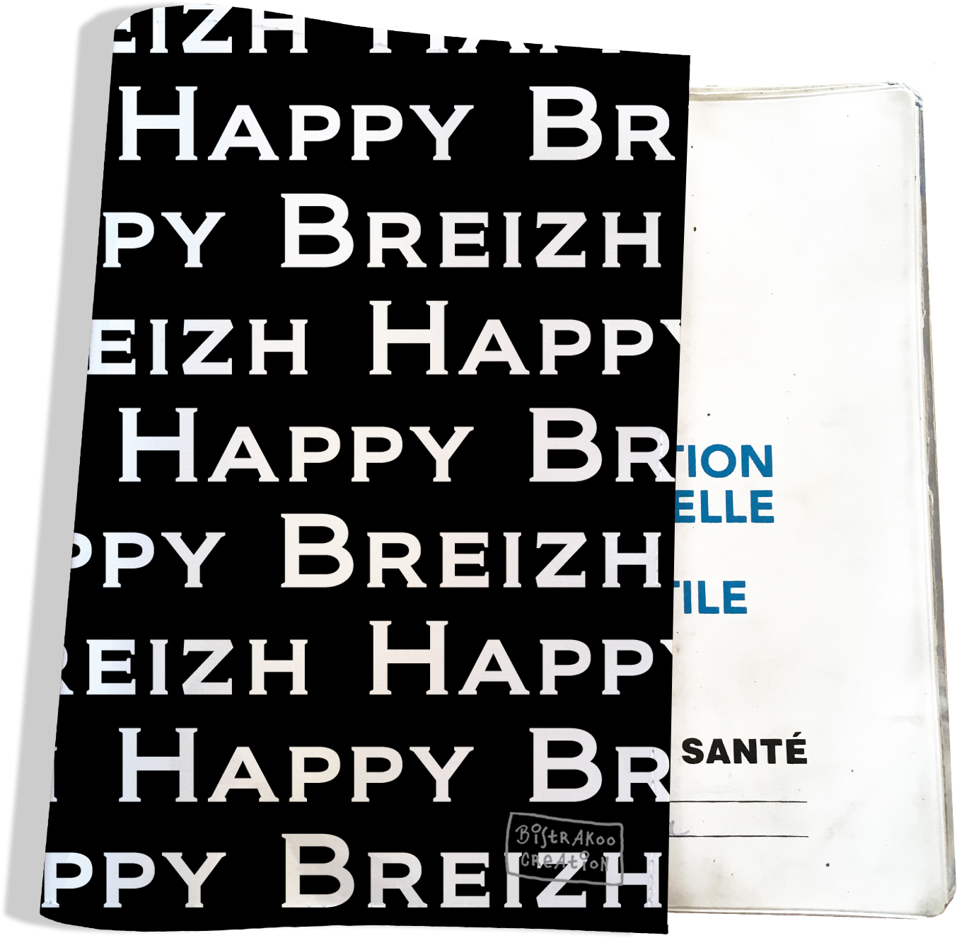 Protège carnet de santé breton Bretagne Happy Breizh Gwen Ha Du Bistrakoo PCS8005