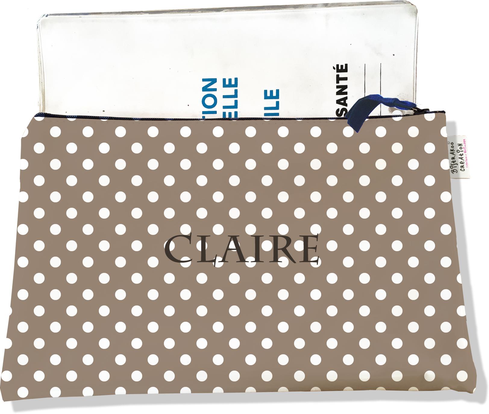 Protège carnet de santé personnalisable zippé pour femme motif Pois blancs fond beige 2058