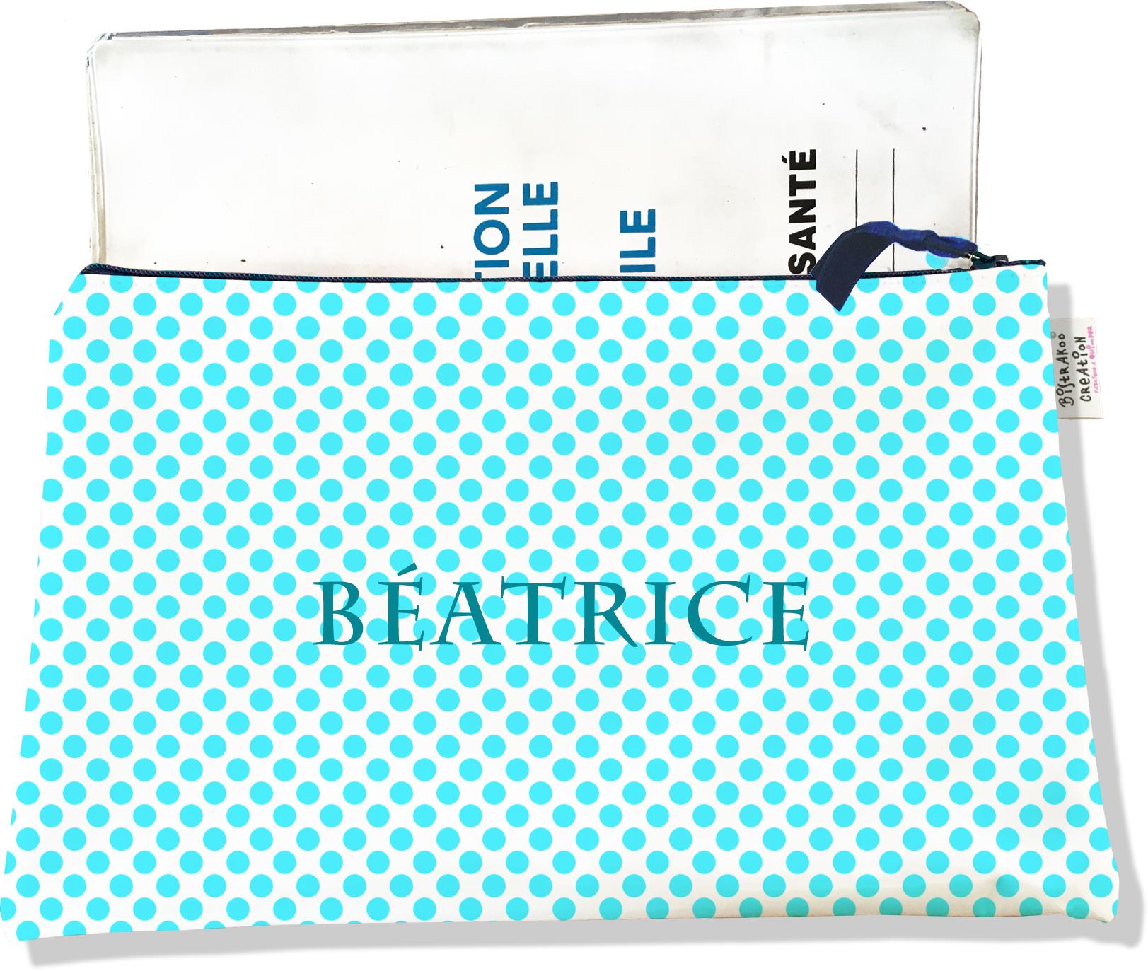 Protège carnet de santé personnalisable zippé pour femme motif Pois bleus P714