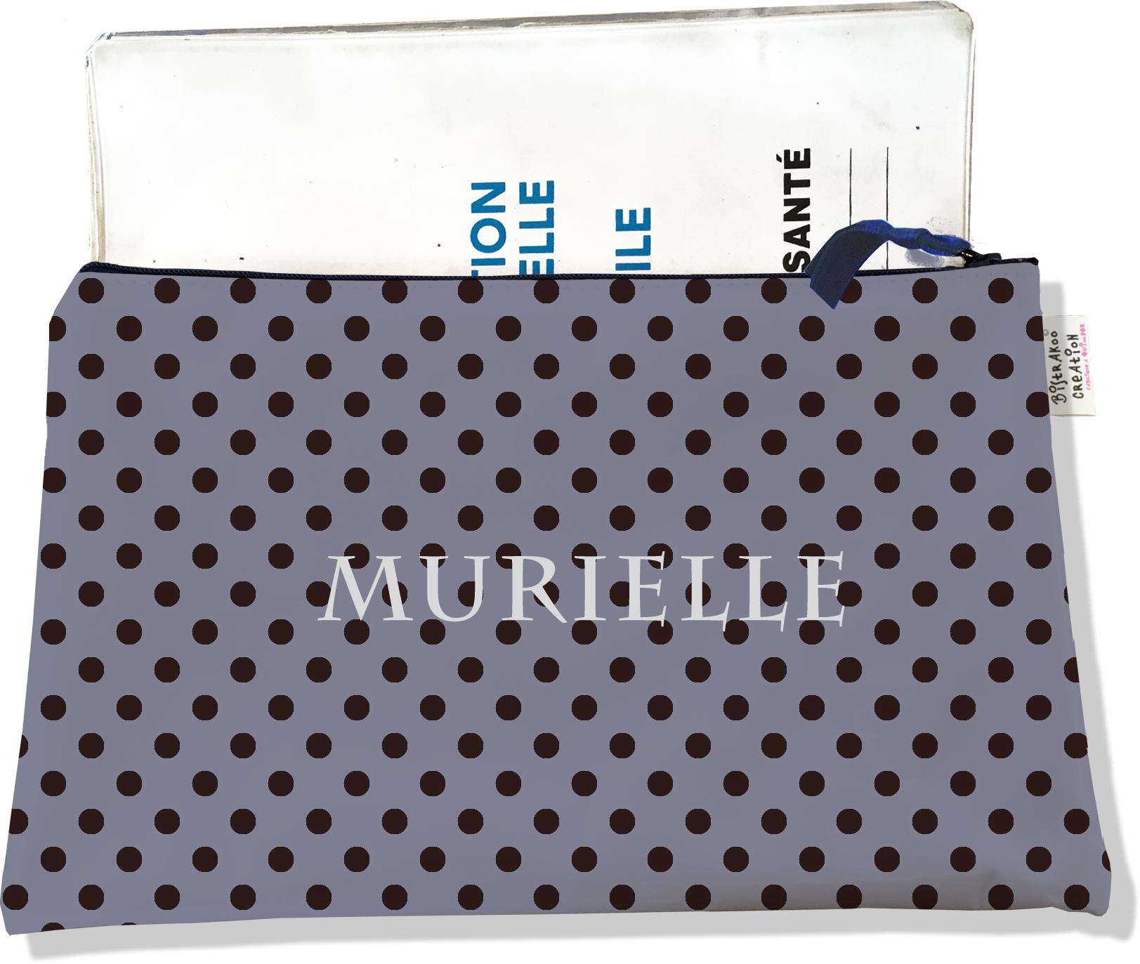 Protège carnet de santé personnalisable zippé pour femme motif Pois noirs fond gris 2057
