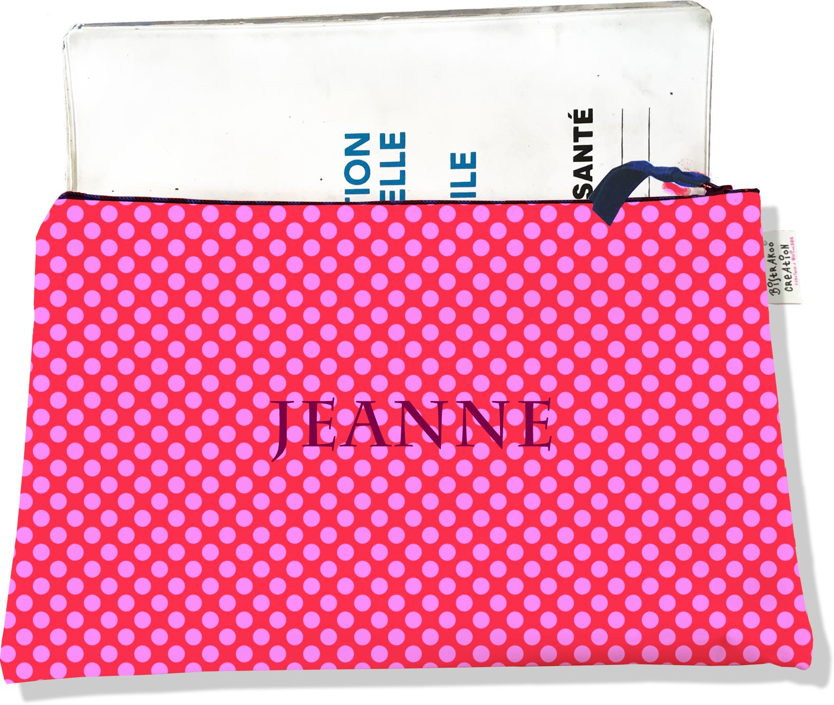 Protège carnet de santé personnalisable zippé pour femme motif Pois roses fond fushia 715