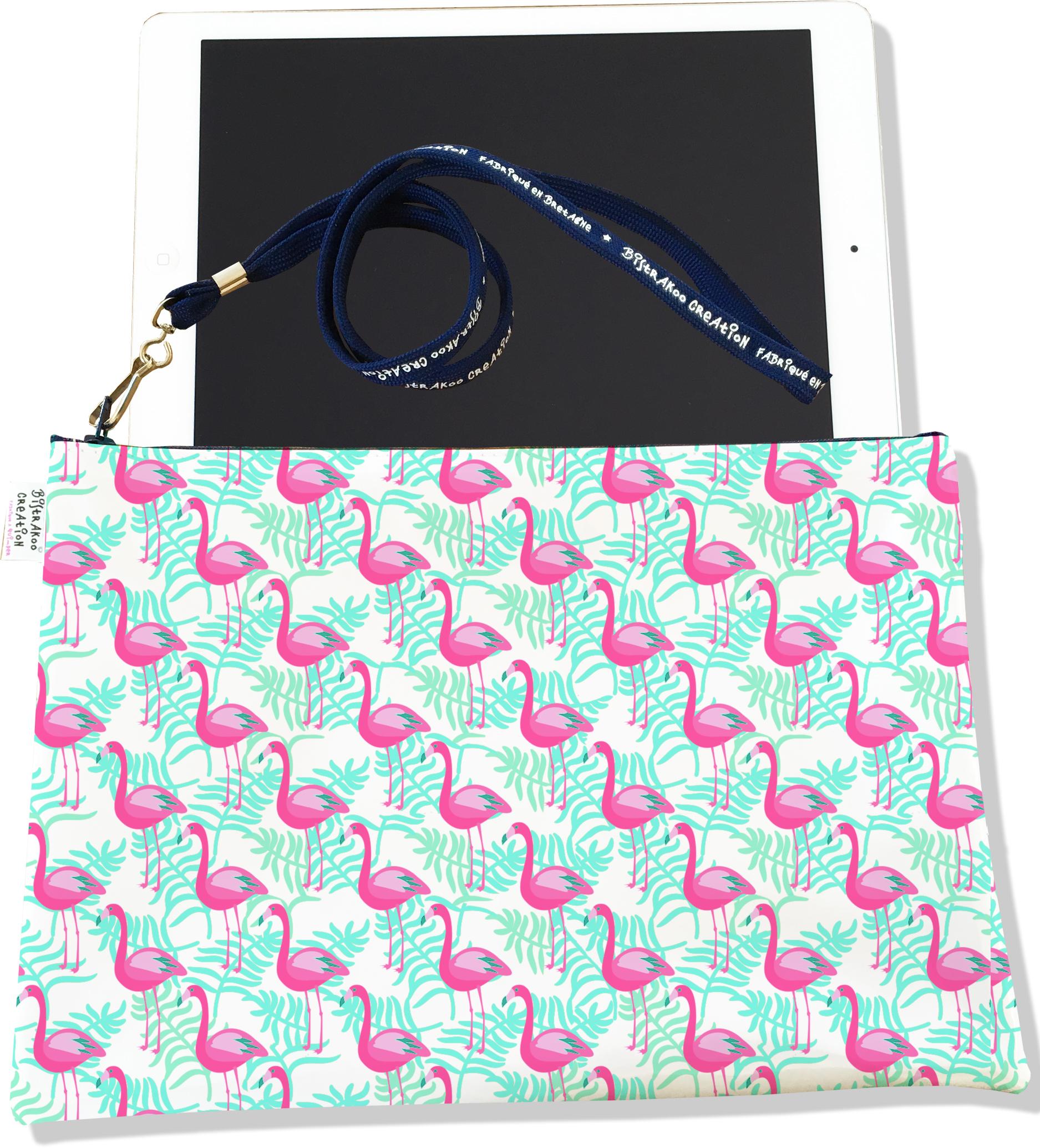 Housse pour tablette pour femme motif Flamants roses feuillage bleu 2542-2016