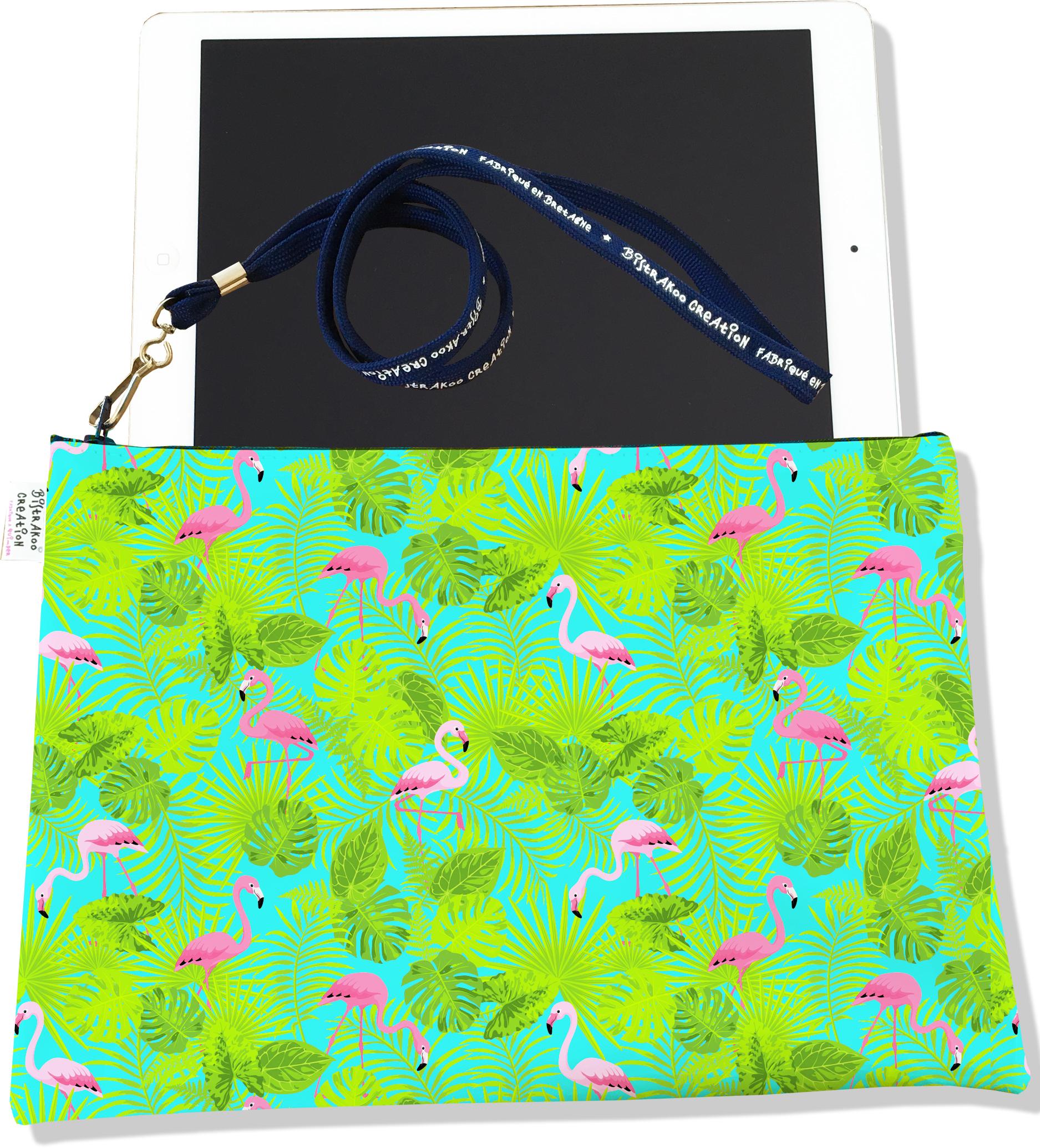 Housse pour tablette pour femme motif Flamants roses feuillage vert fond bleu 3115-2017
