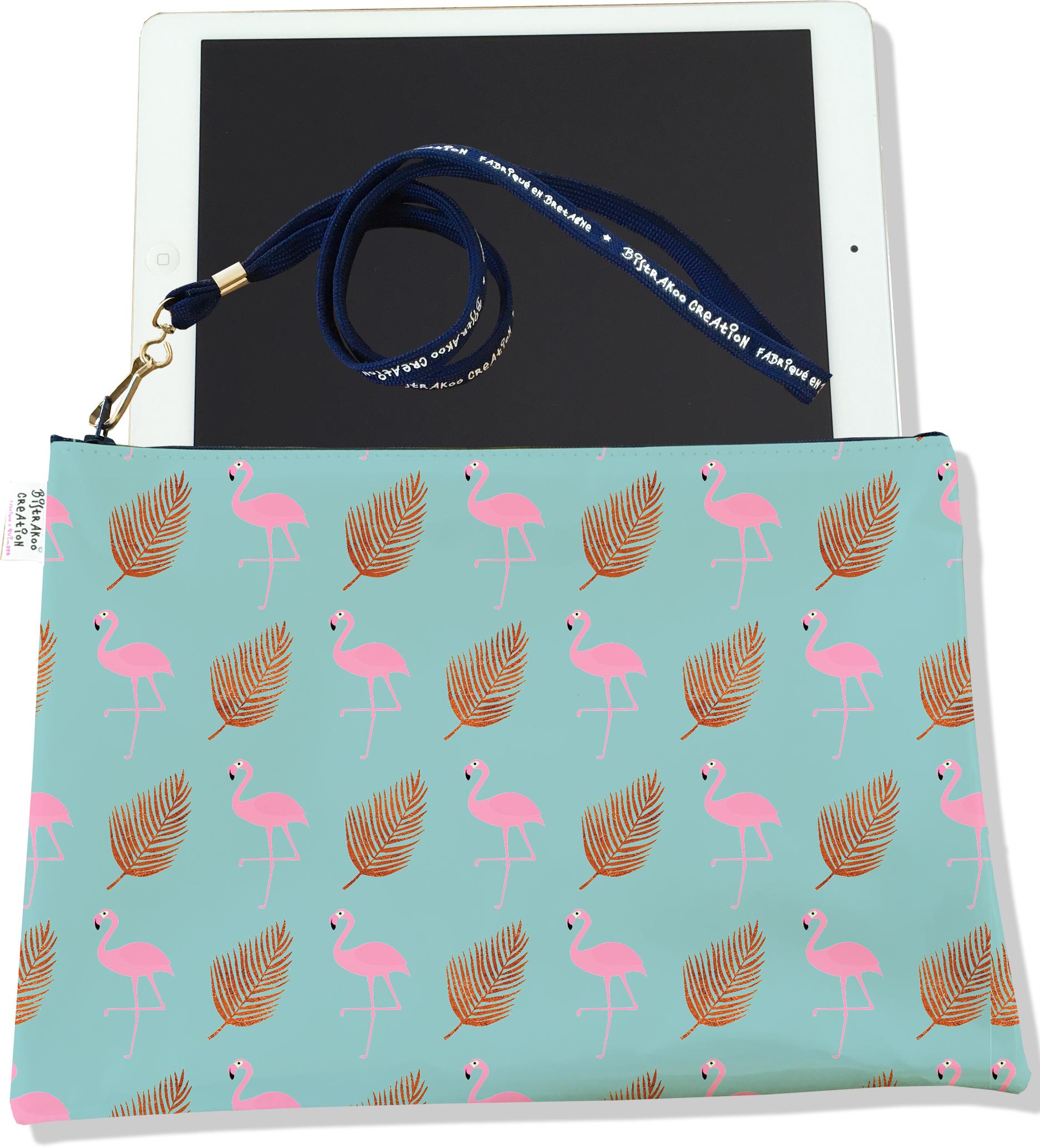 Housse pour tablette pour femme motif Flamants roses fond bleu 3219-2017