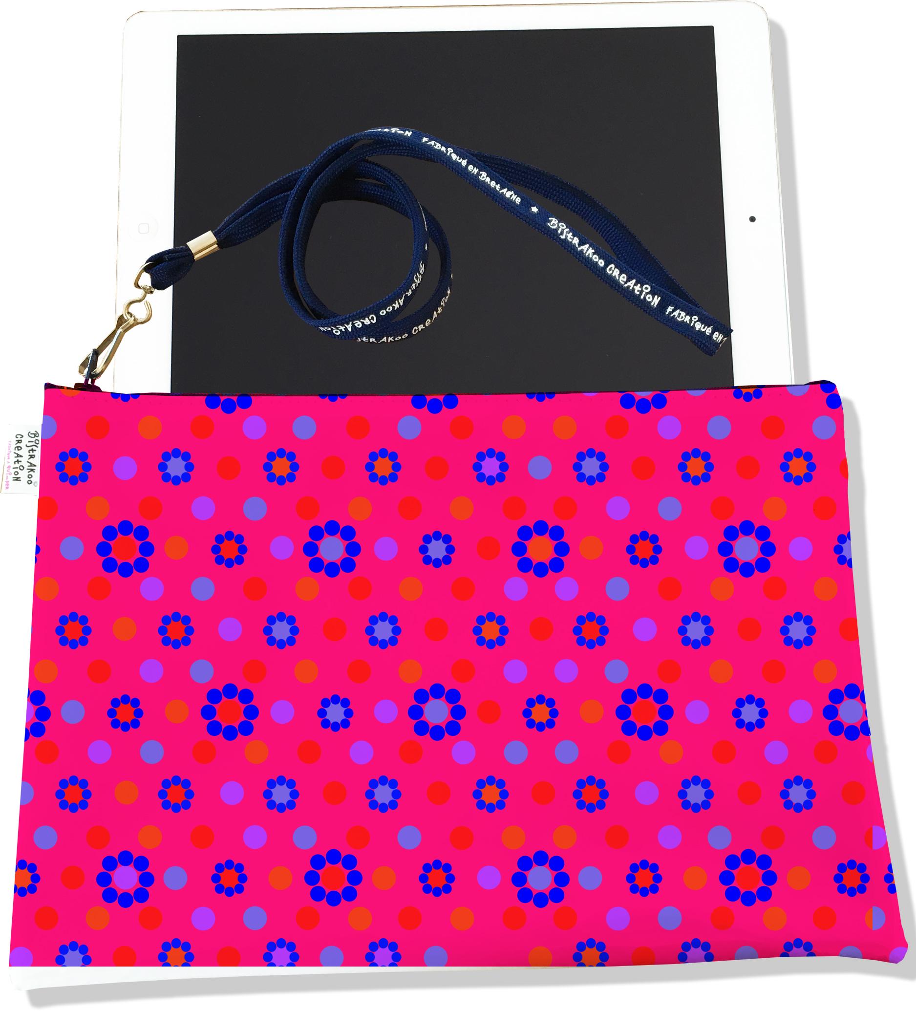 Housse pour tablette pour femme motif Fleurs et pois bleus, roses et oranges 2439-2016