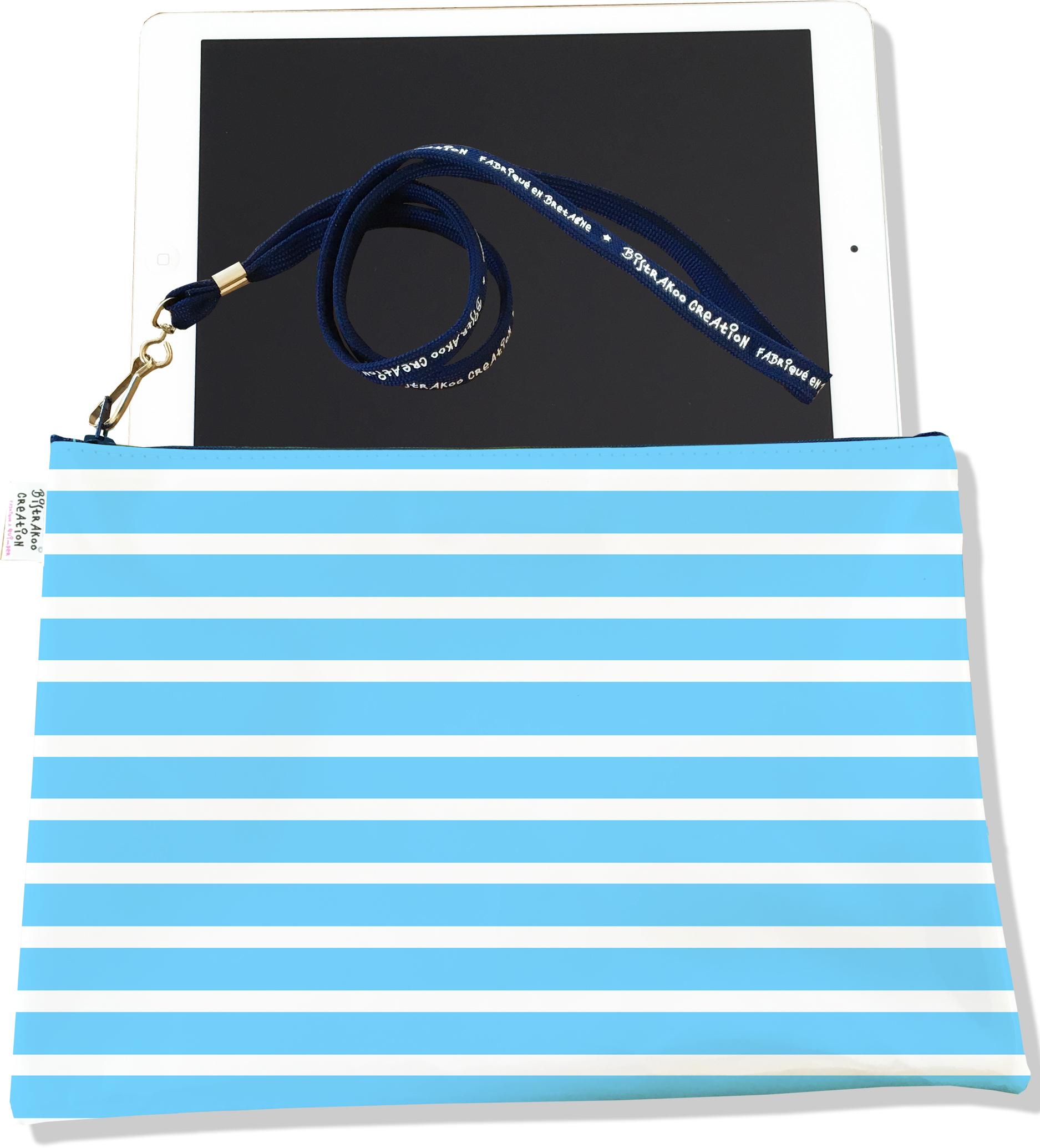 Housse pour tablette pour femme motif Marinière bleu ciel 1951-2015