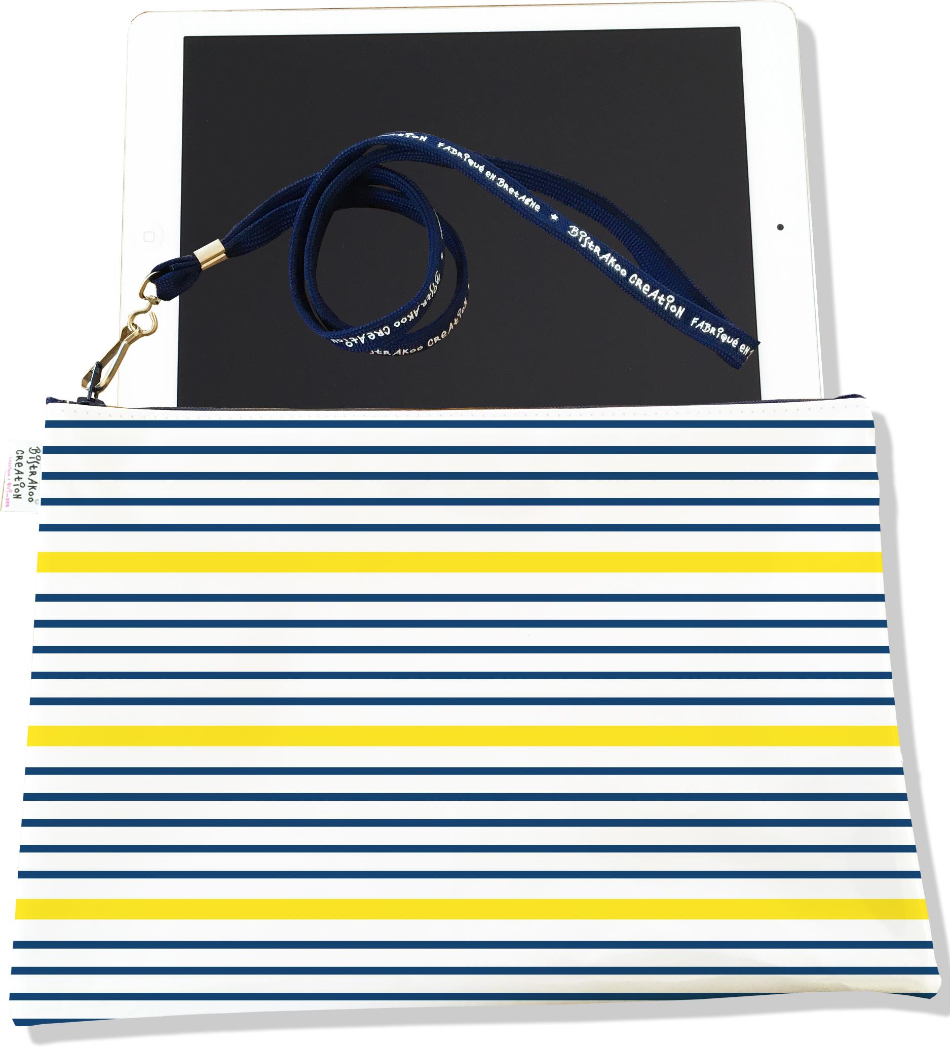 Housse pour tablette pour femme motif Marinière bleu et jaune 3019-2017