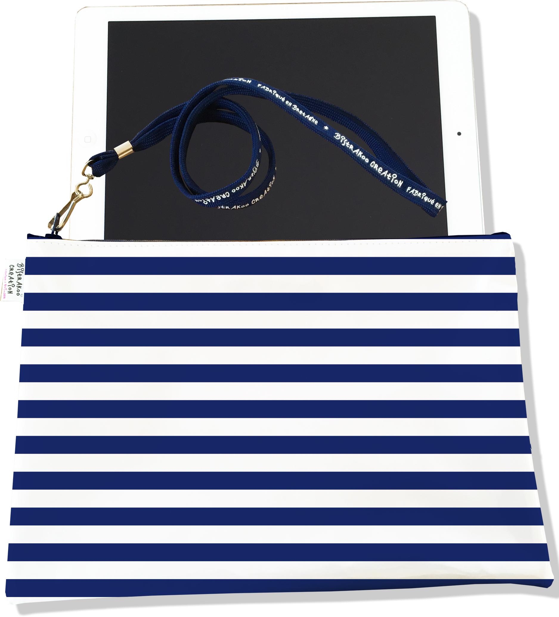Housse pour tablette pour femme motif Marinière bleu marine 2377-2016