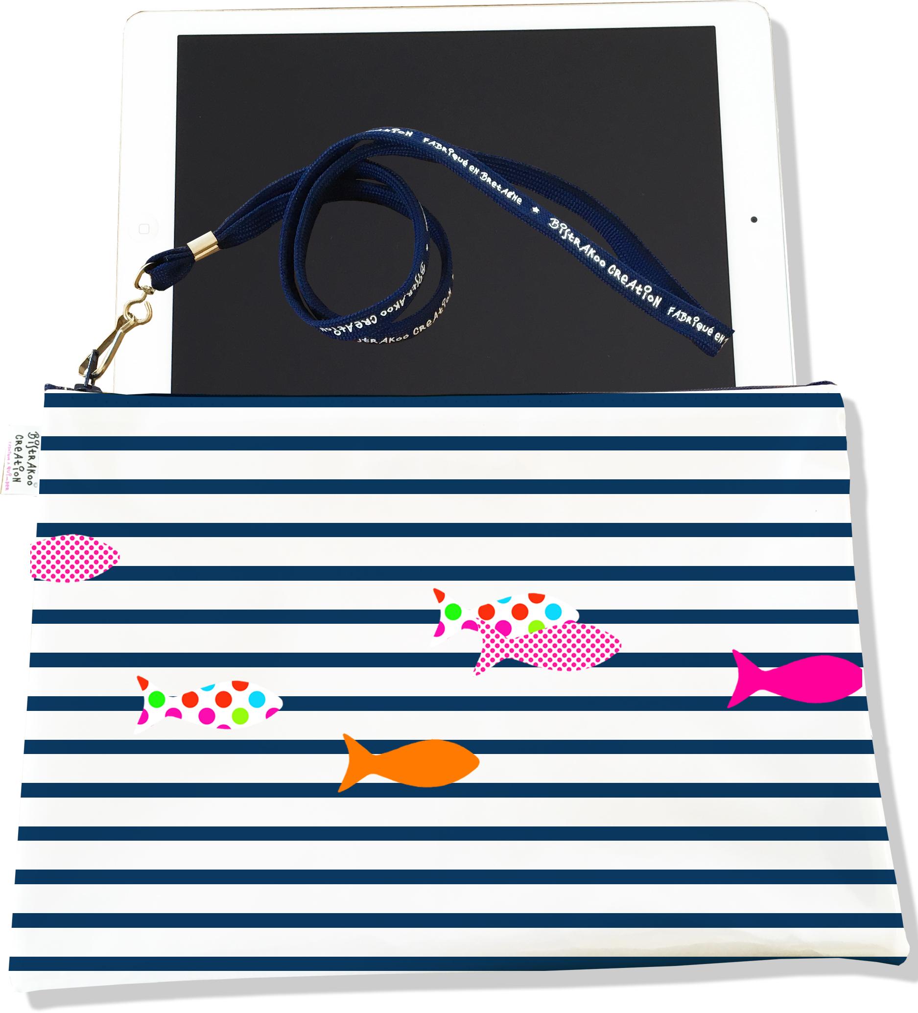 Housse pour tablette pour femme motif Marinière bleu marine poissons multicolores 2357-2016