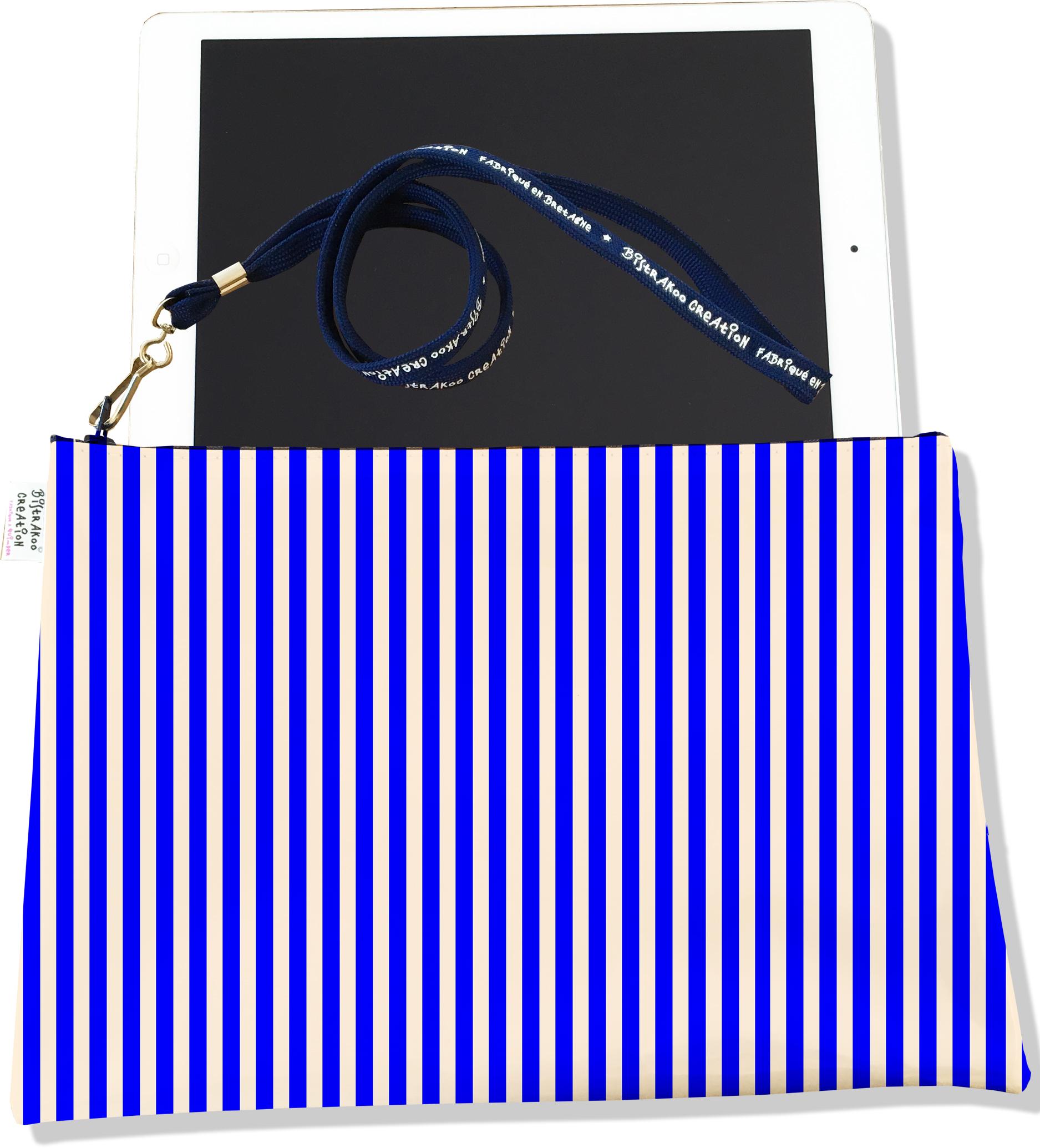 Housse pour tablette pour femme motif Marinière bleue 2383-2016