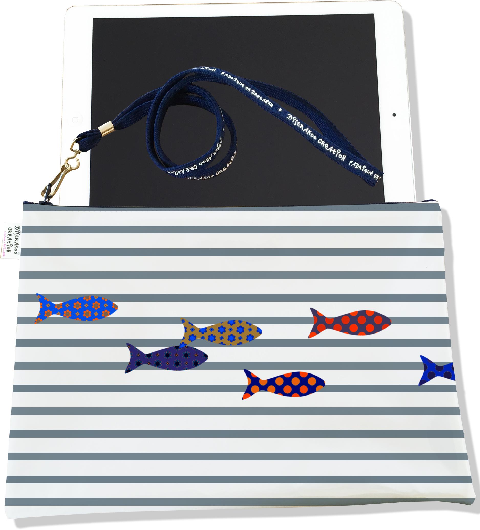 Housse pour tablette pour femme motif Marinière grise poissons multicolores 2588-2016