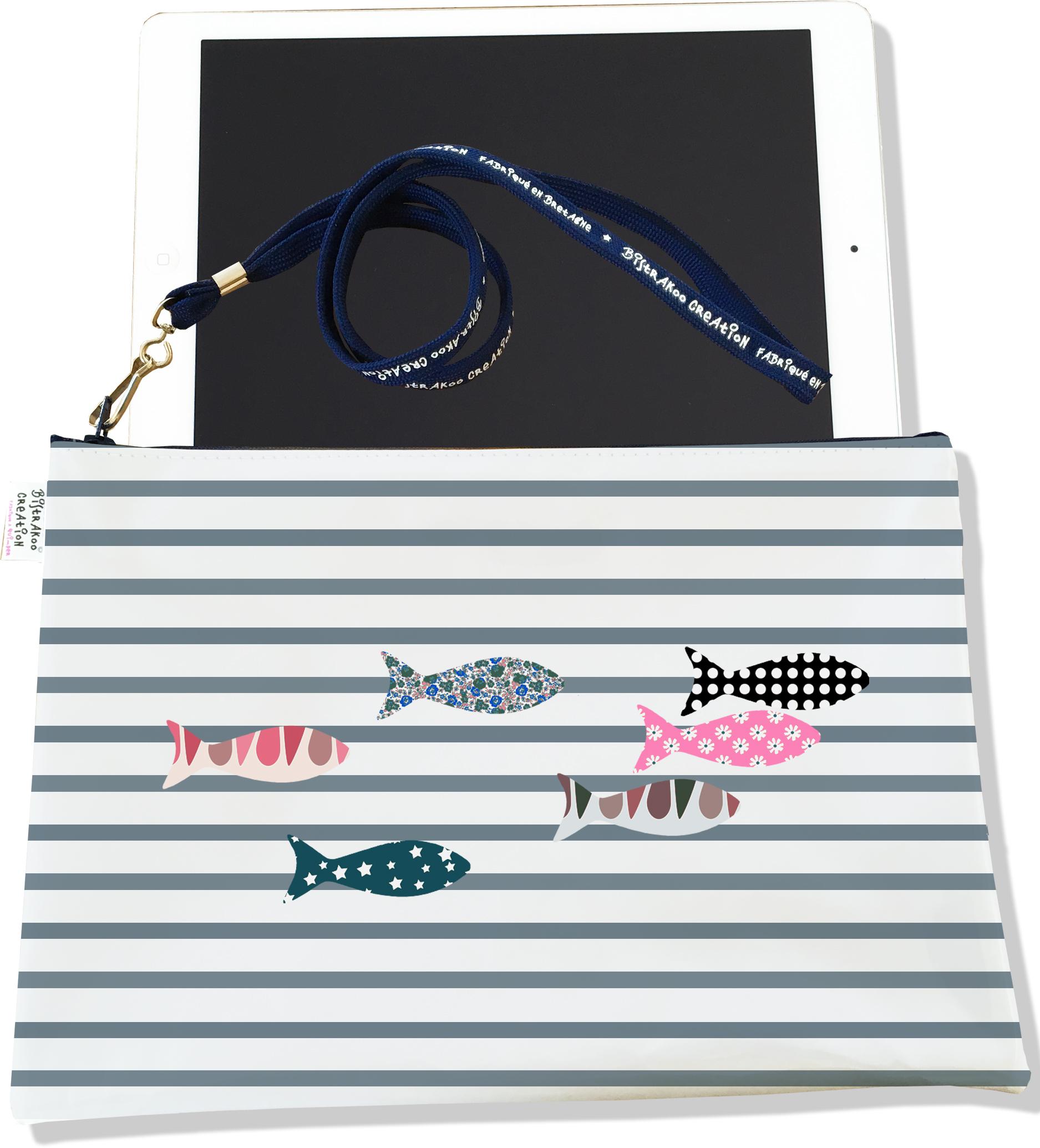 Housse pour tablette pour femme motif Marinière grise poissons multicolores 3271-2017