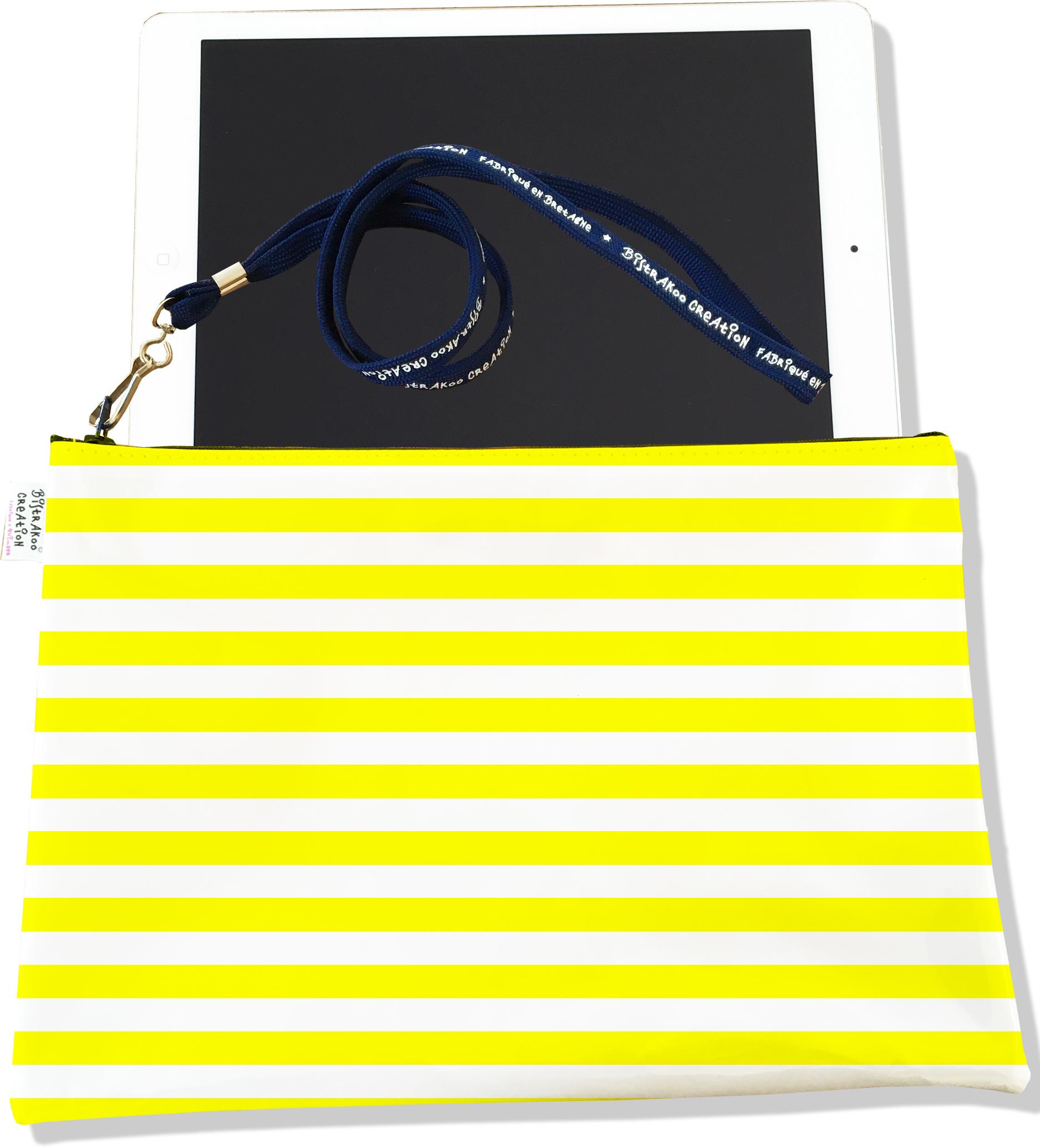 Housse pour tablette pour femme motif Marinière jaune 2378-2016
