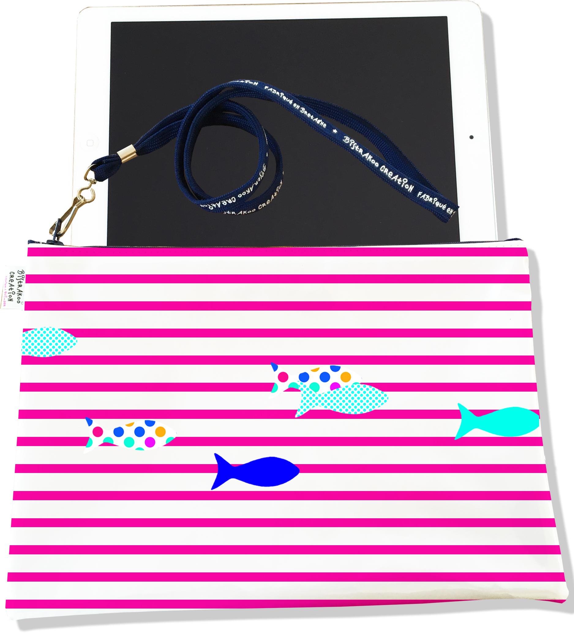 Housse pour tablette pour femme motif Marinière rose poissons multicolores 2431-2016