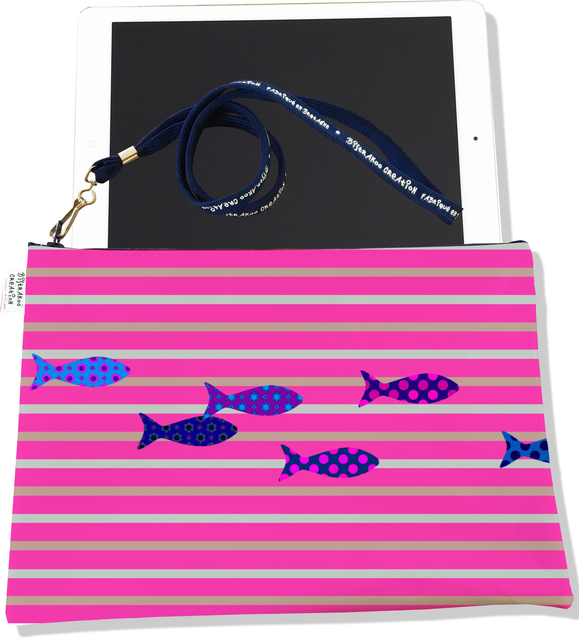 Housse pour tablette pour femme motif Marinière rose poissons multicolores 2585-2016
