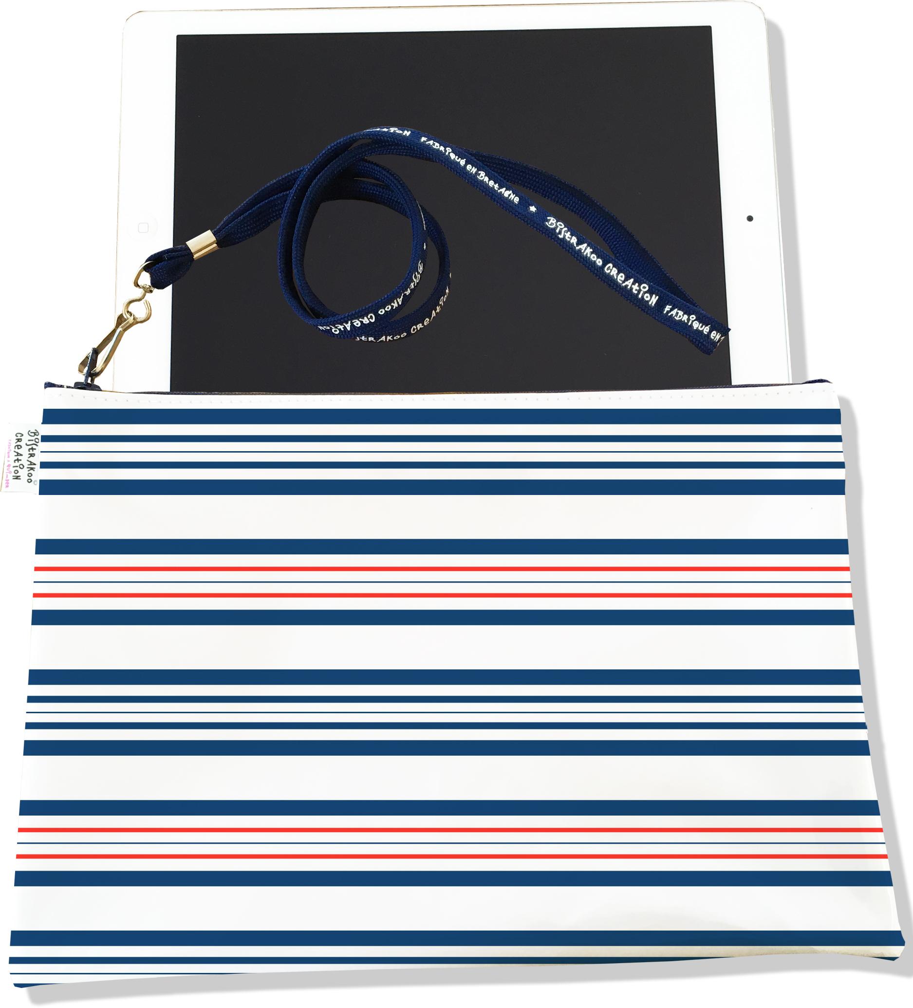 Housse pour tablette pour femme motif Marinière rouge et bleu 3014-2017