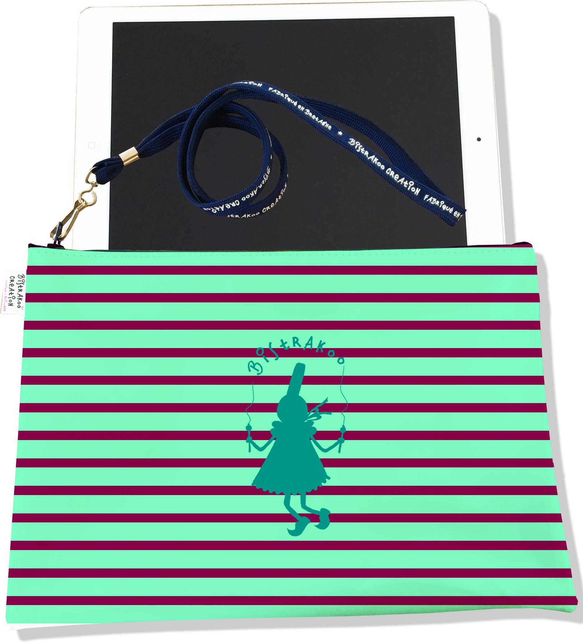 Housse pour tablette pour femme motif Marinière verte et marron Bigoudène Bistrakoo 2308-2015