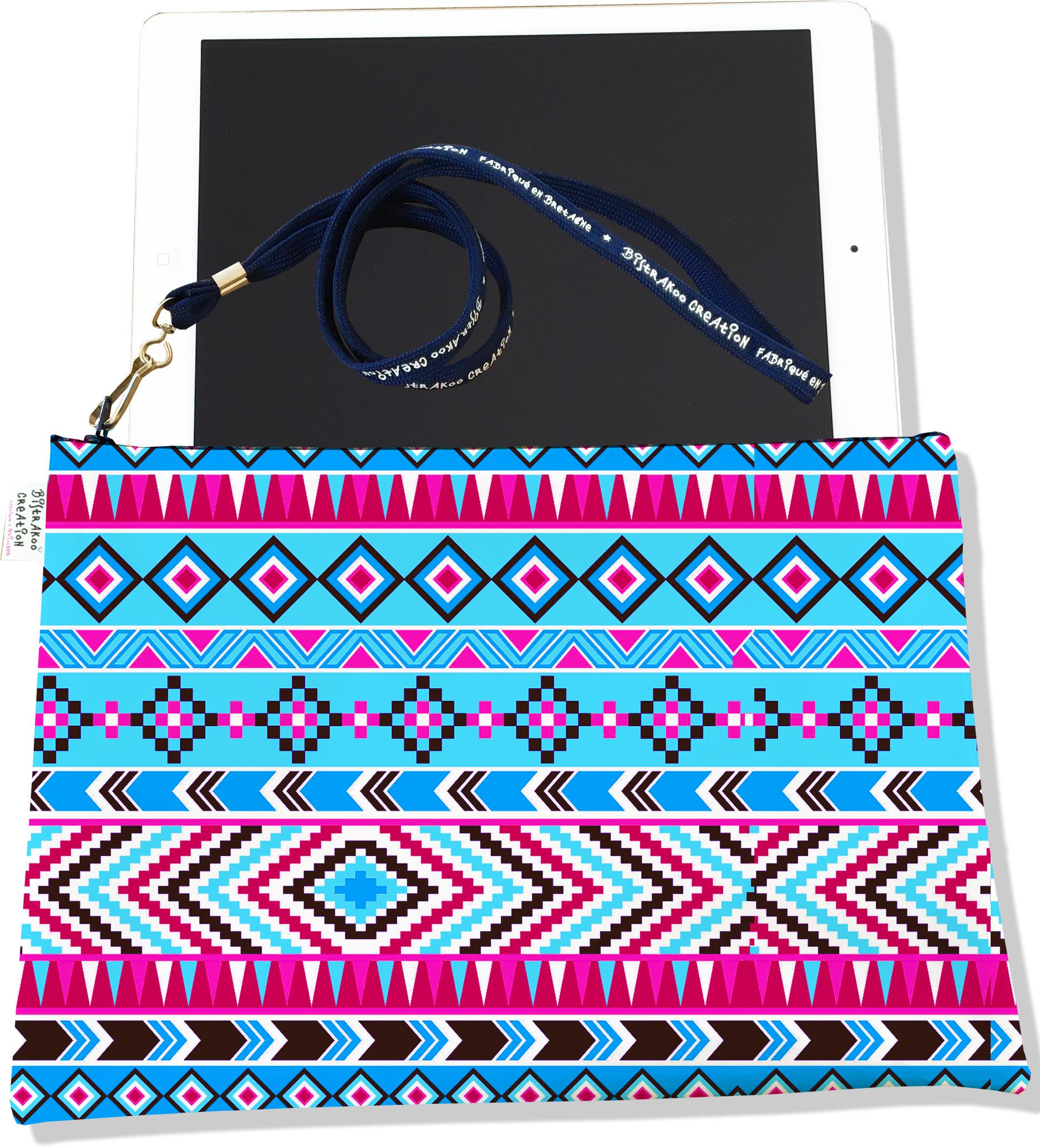 Housse pour tablette pour femme motif Ethnique bleu et rose 1995
