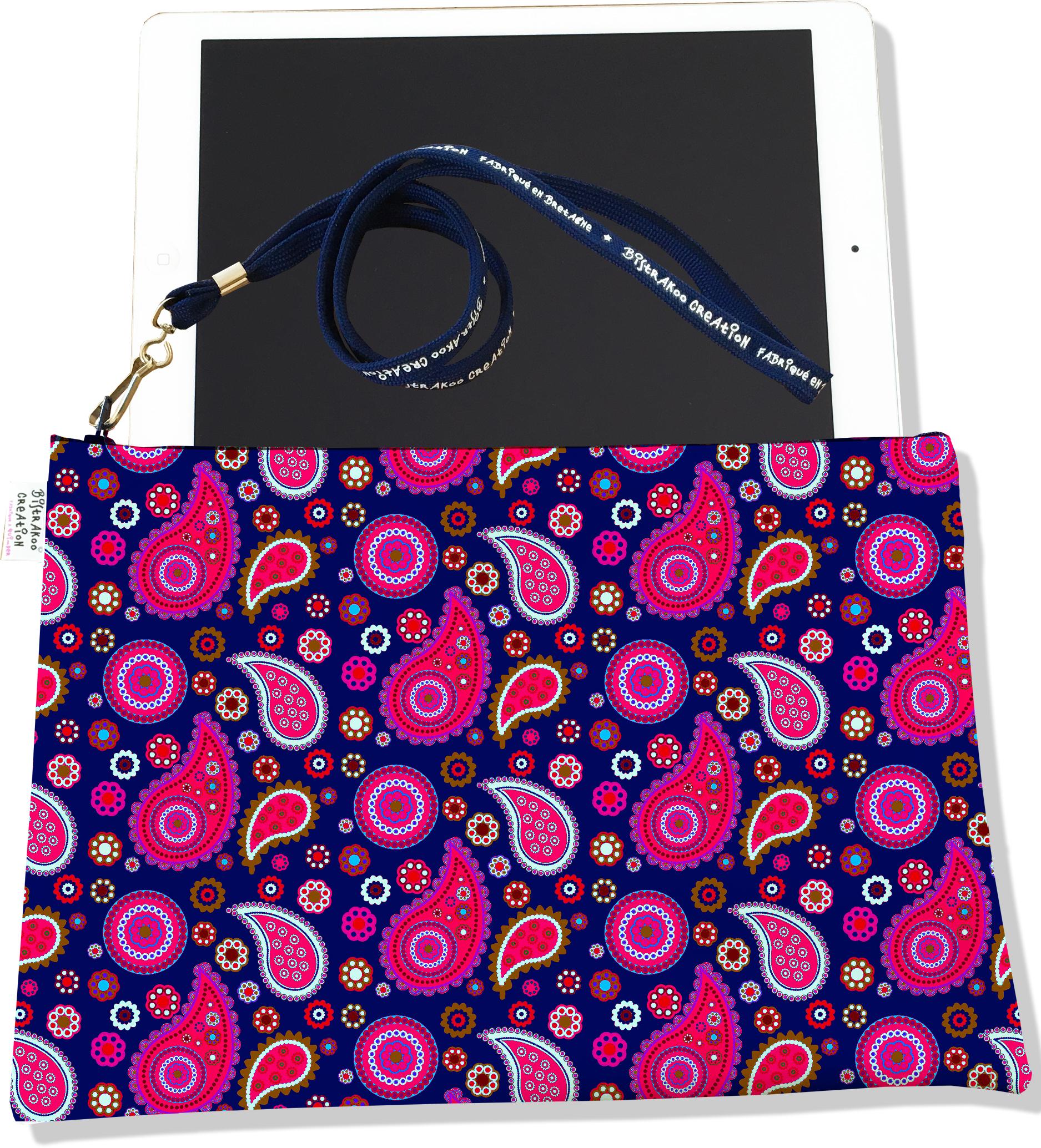 Housse pour tablette pour femme motif Cachemire bleu marine et rouge 2001