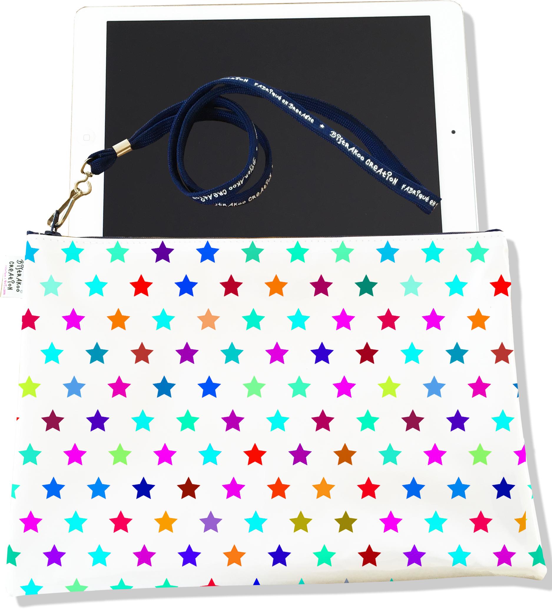 Housse pour tablette pour femme motif Etoiles multicolores 2005