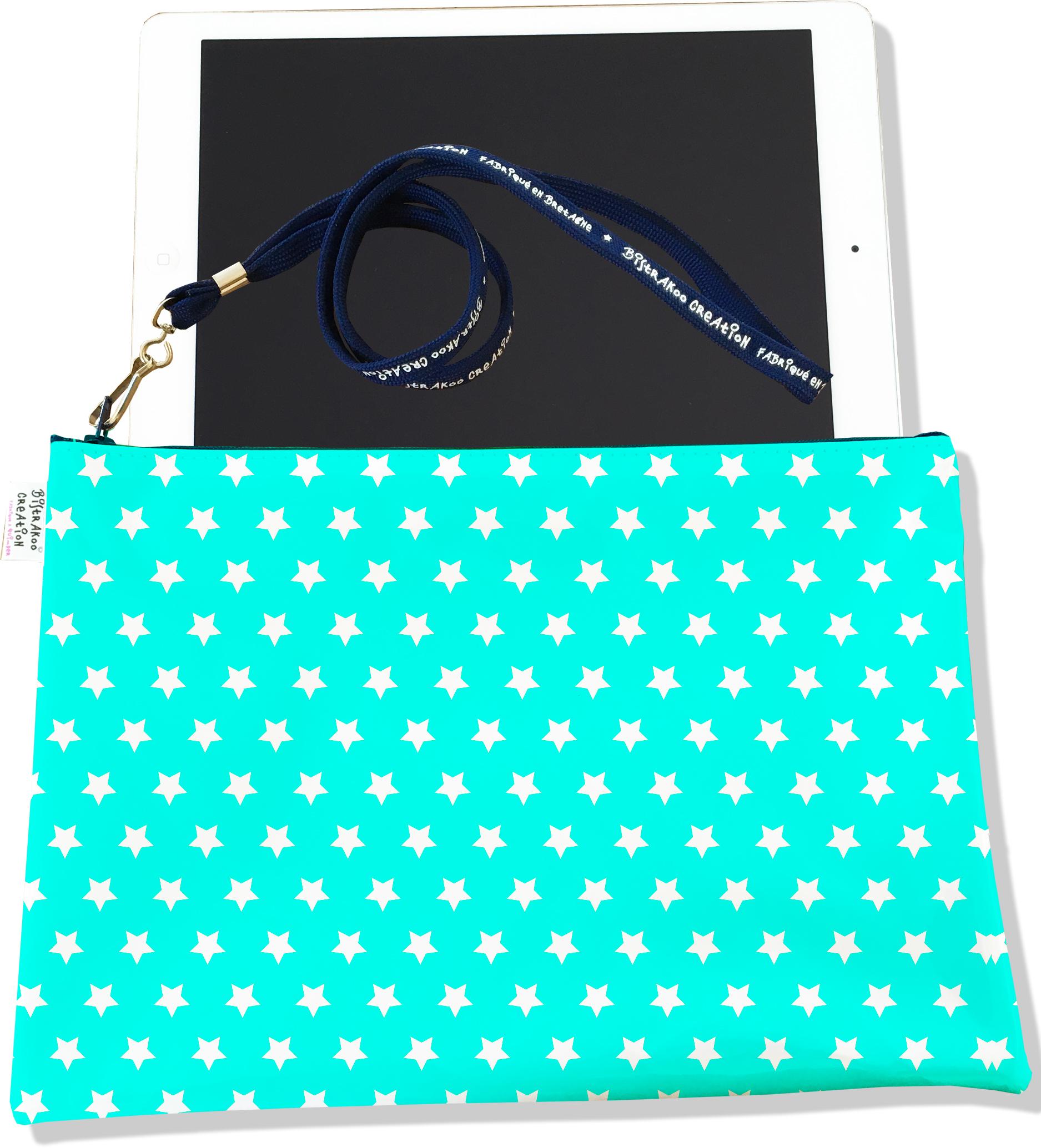 Housse pour tablette pour femme motif Etoiles blanches fond bleu 2007