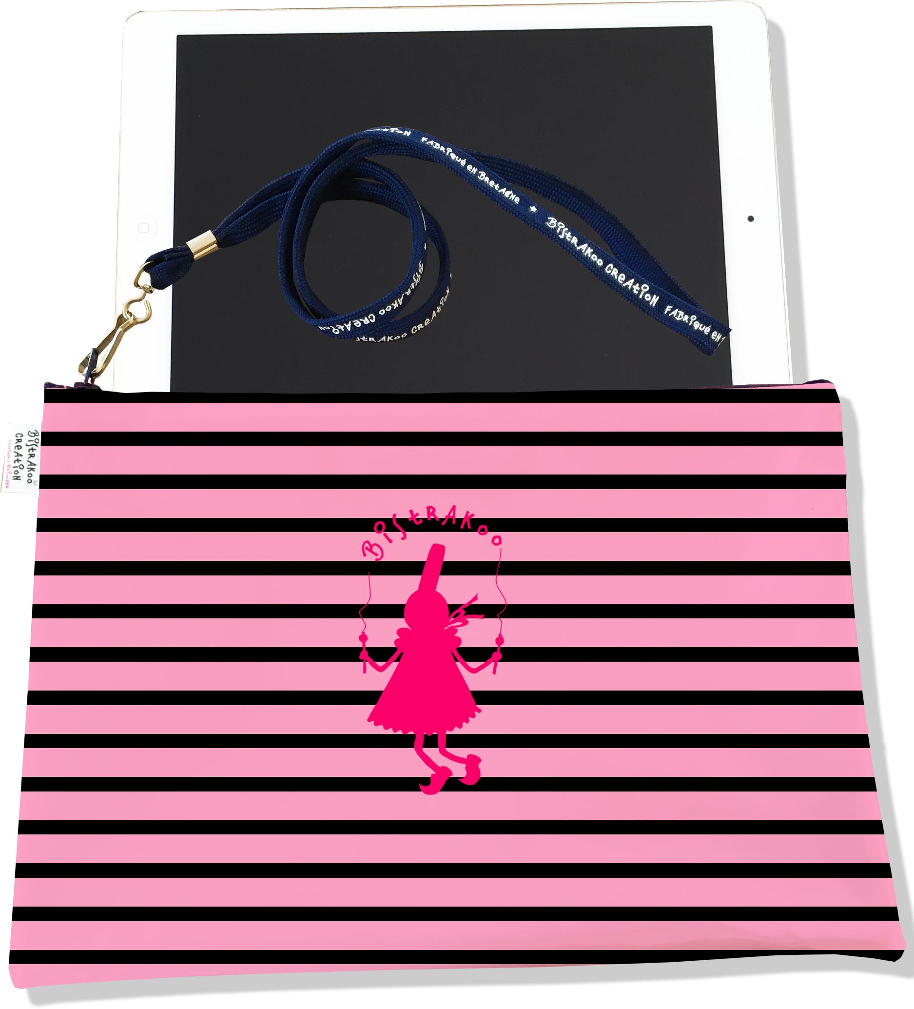 Housse pour tablette pour femme motif Bigoudène et marinière rose 2015