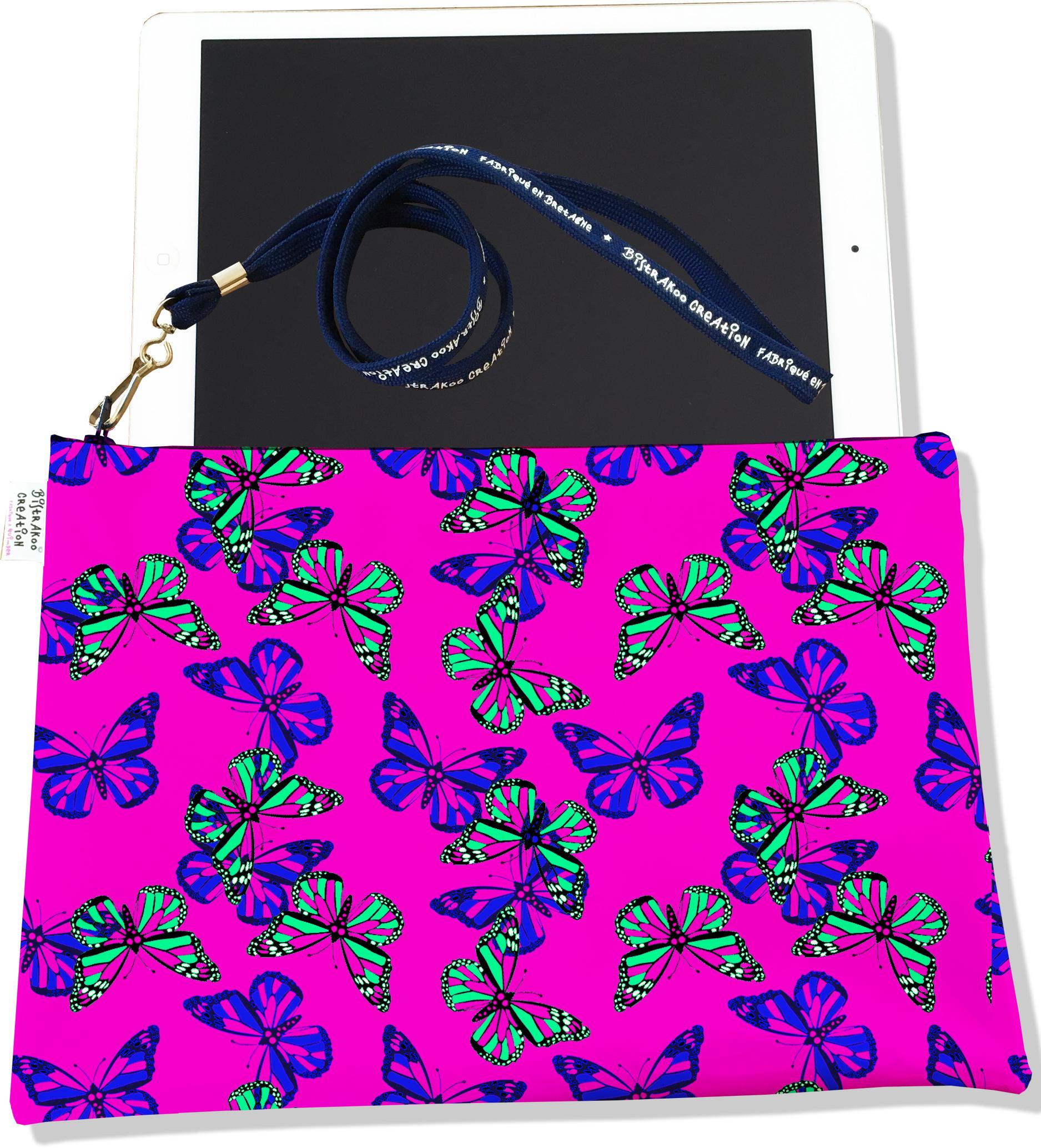 Housse pour tablette pour femme motif Papillons multicolores fond rose 2030
