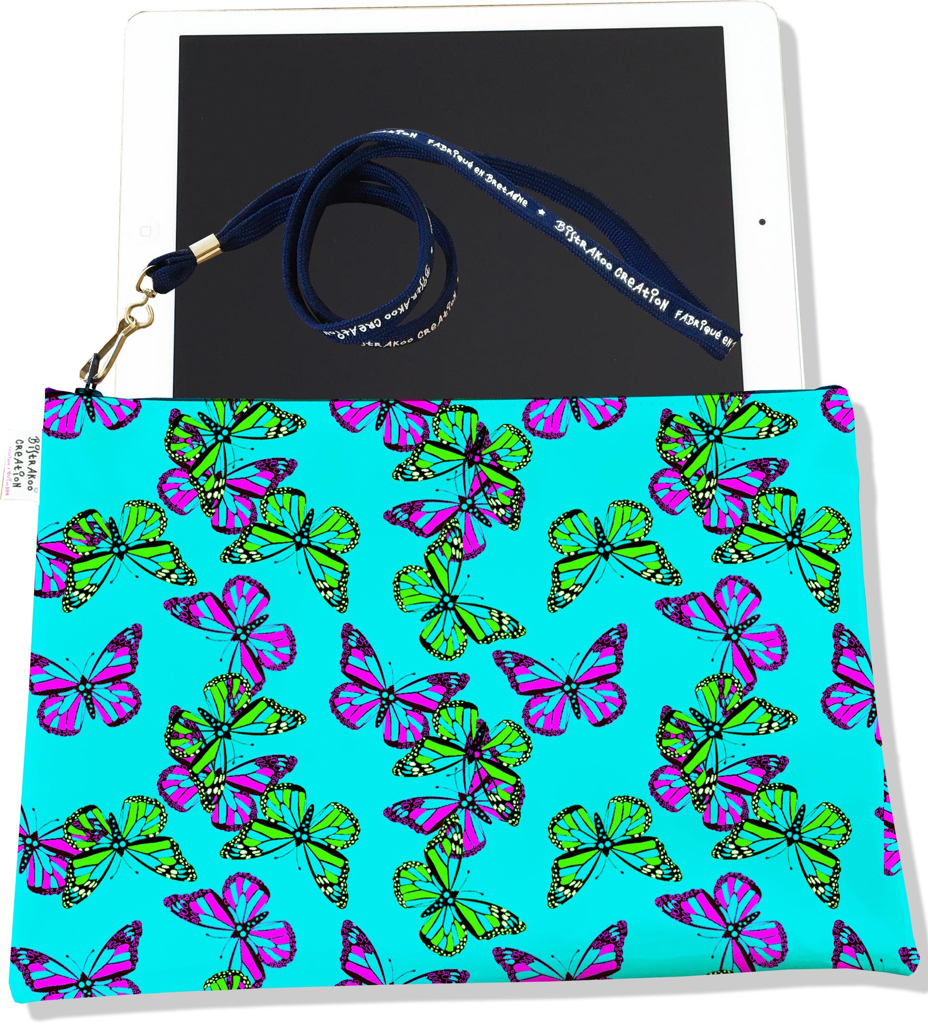 Housse pour tablette pour femme motif Papillons multicolores fond vert 2031