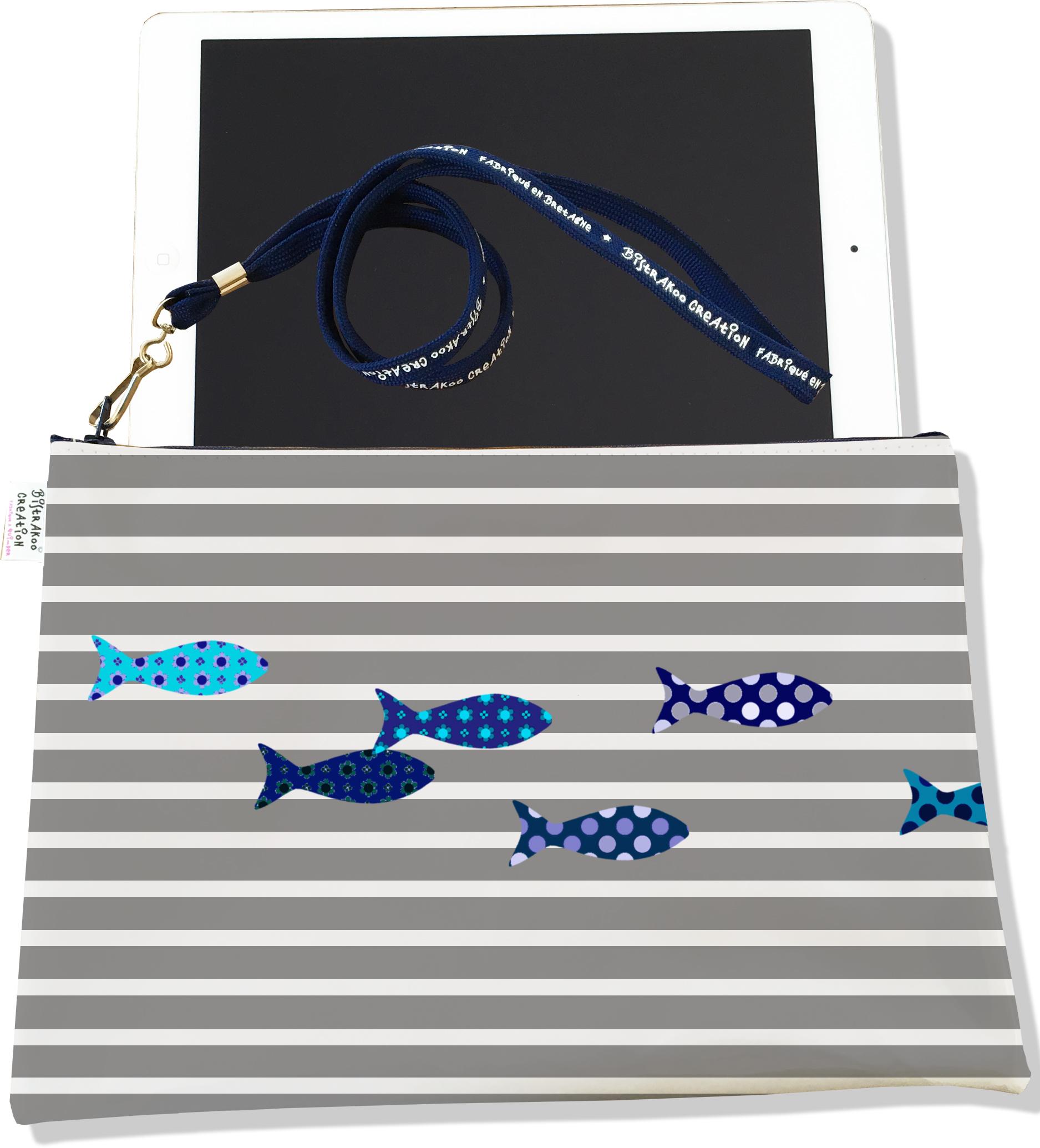 Housse pour tablette pour femme motif Poissons bleus marinière grise 2584