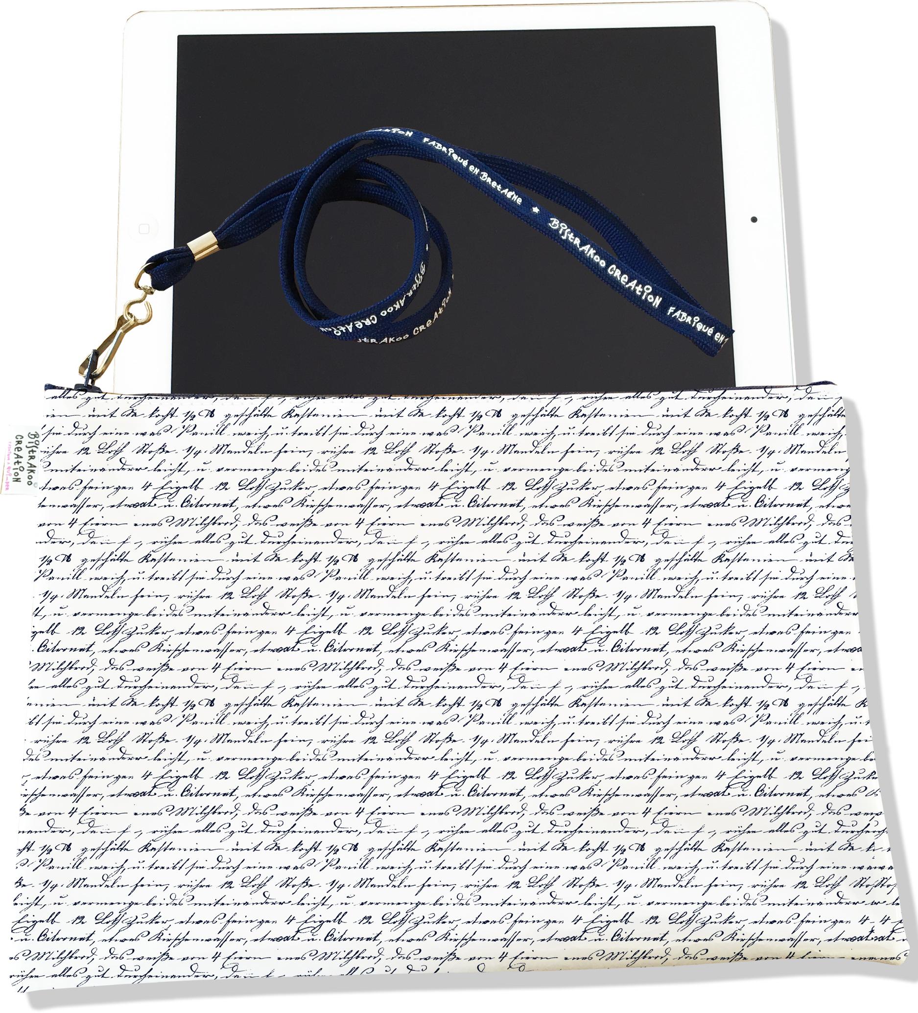 Housse pour tablette pour homme motif Ecriture manuscrite bleue marine 2141-2015