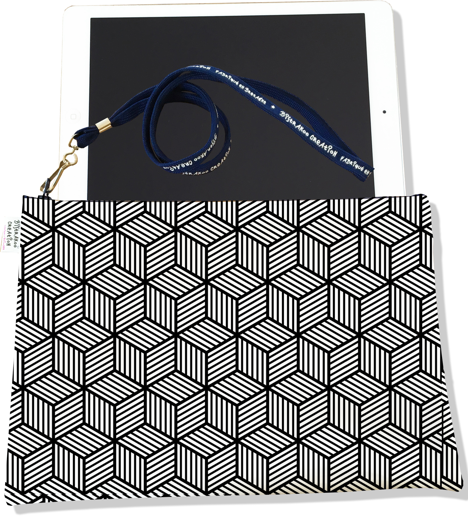 Housse pour tablette pour homme motif Graphique noir 2164-2015