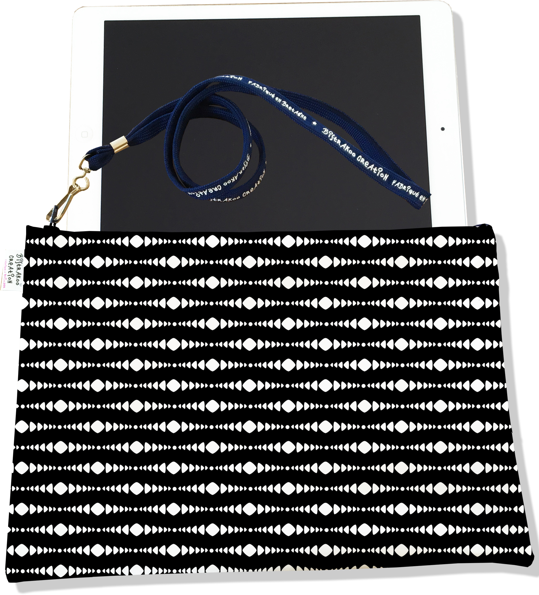 Housse pour tablette pour homme motif tactile Graphique blanc fond noir 2495-2015