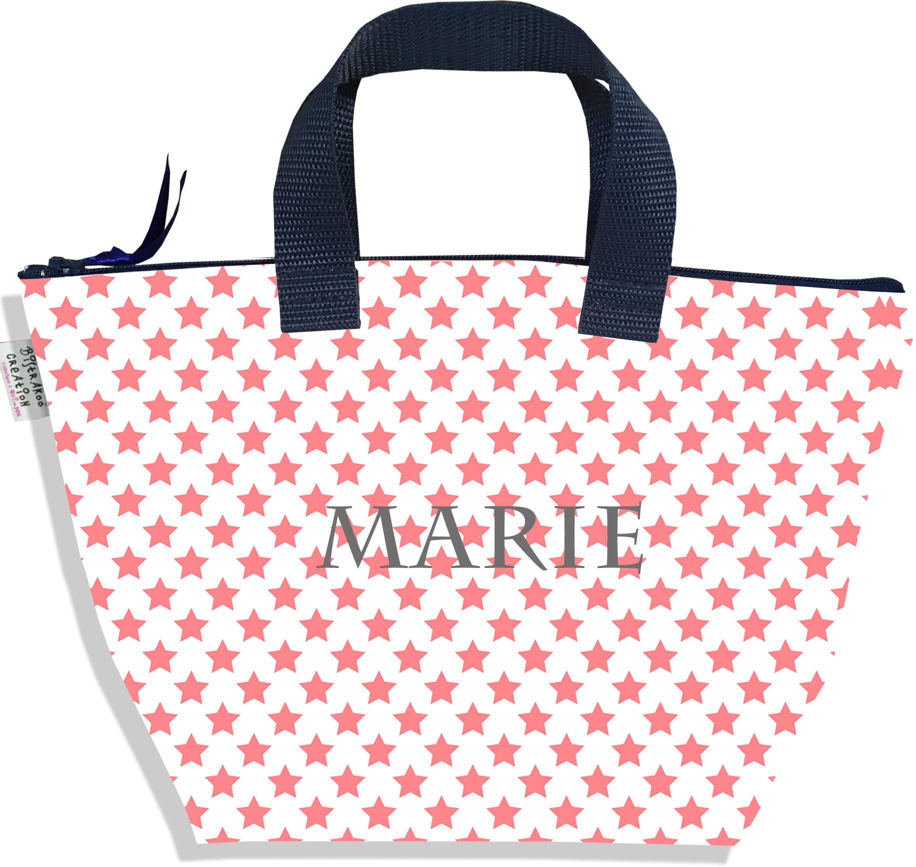 Sac à main zippé pour fille personnalisable motif Etoiles roses fond blanc P2089-2015