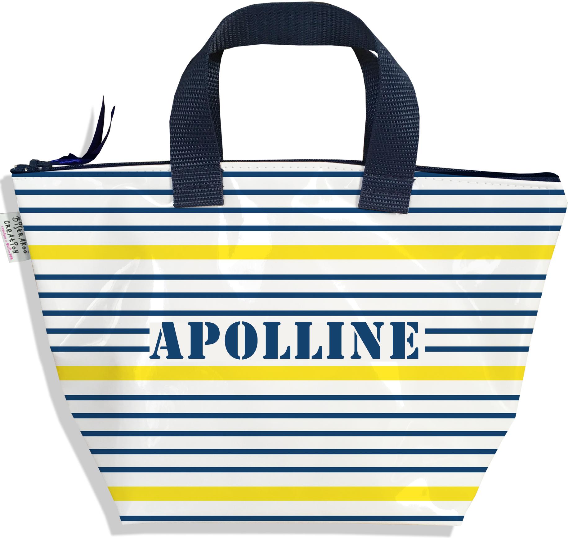 Sac à main zippé pour fille personnalisable motif Marinière bleue et jaune P3019-2017