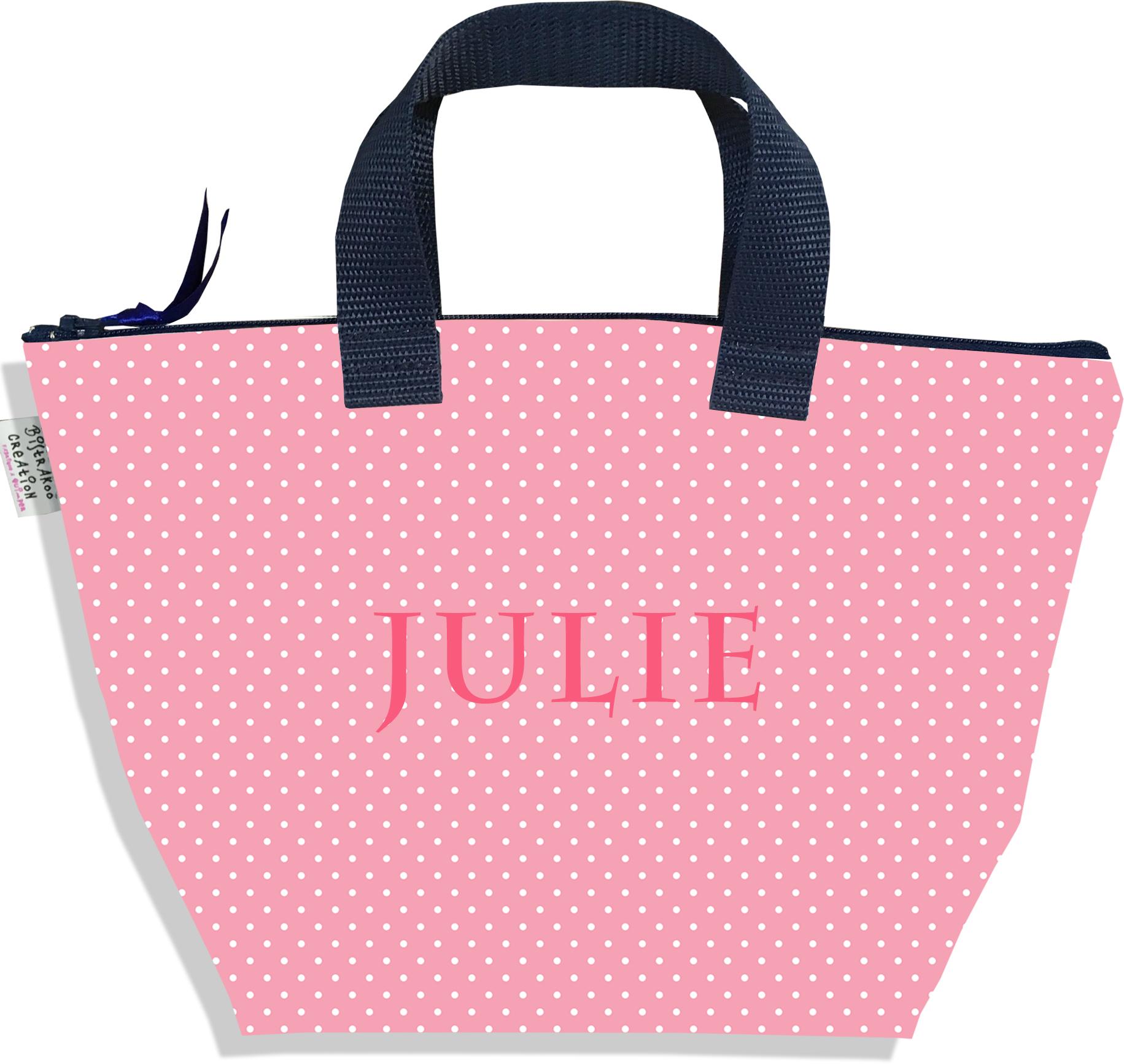 Sac à main zippé pour fille personnalisable motif Petits Pois blancs fond rose P2062-2015